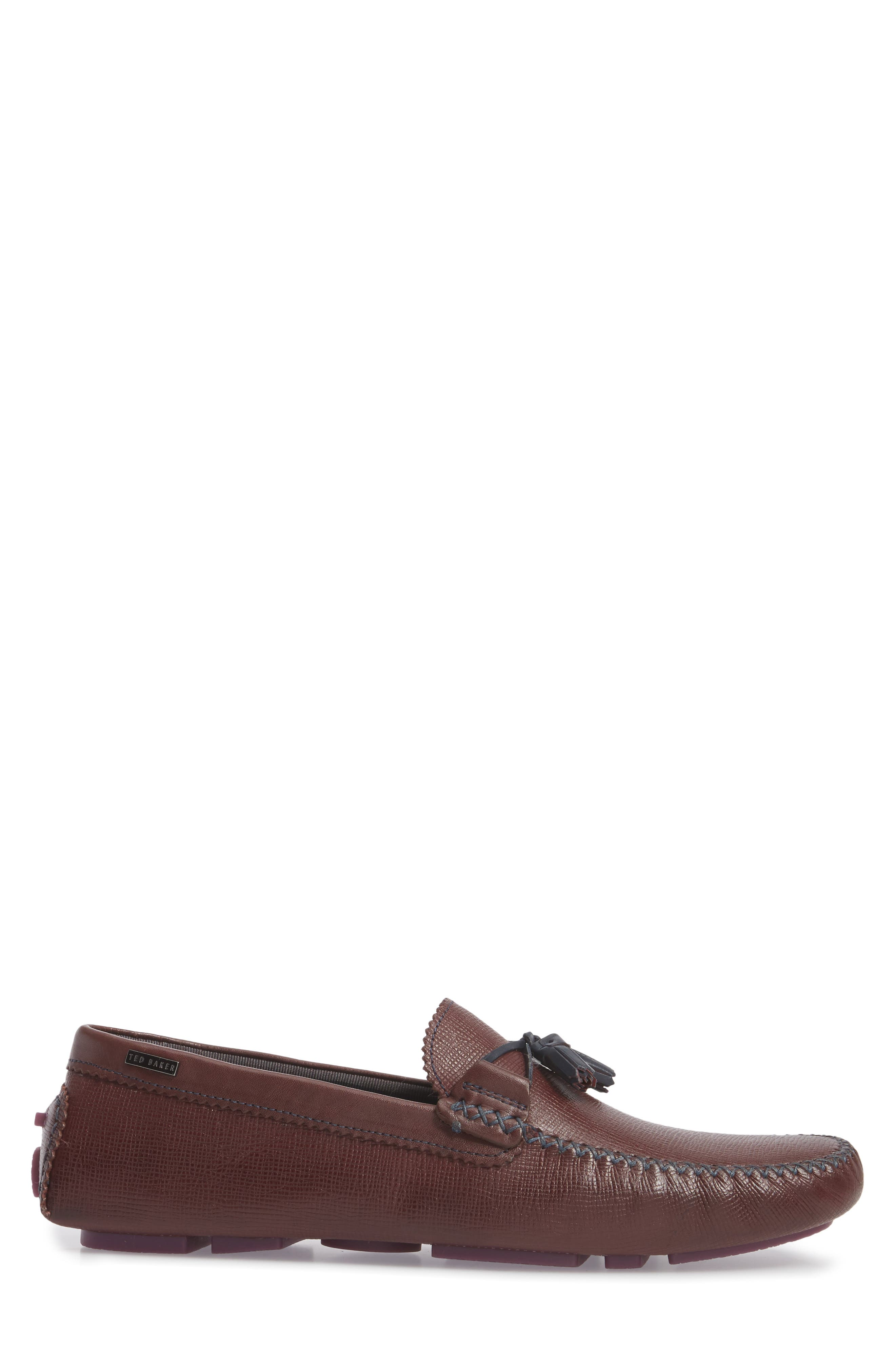Urbonn Tasseled Driving Loafer,                             Alternate thumbnail 3, color,                             Dark Red Leather