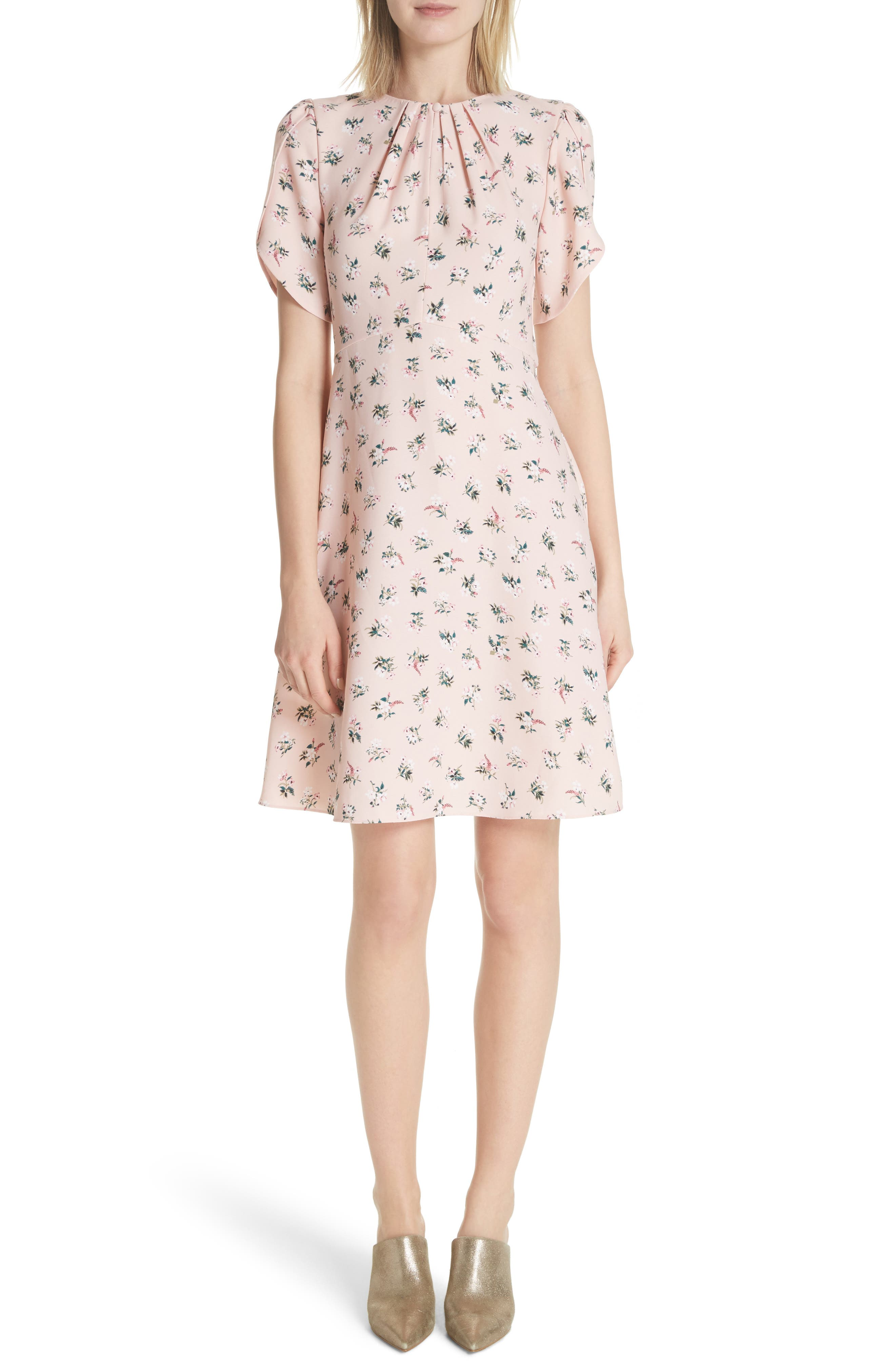 flora tulip sleeve dress,                             Main thumbnail 1, color,                             Cameo Pink