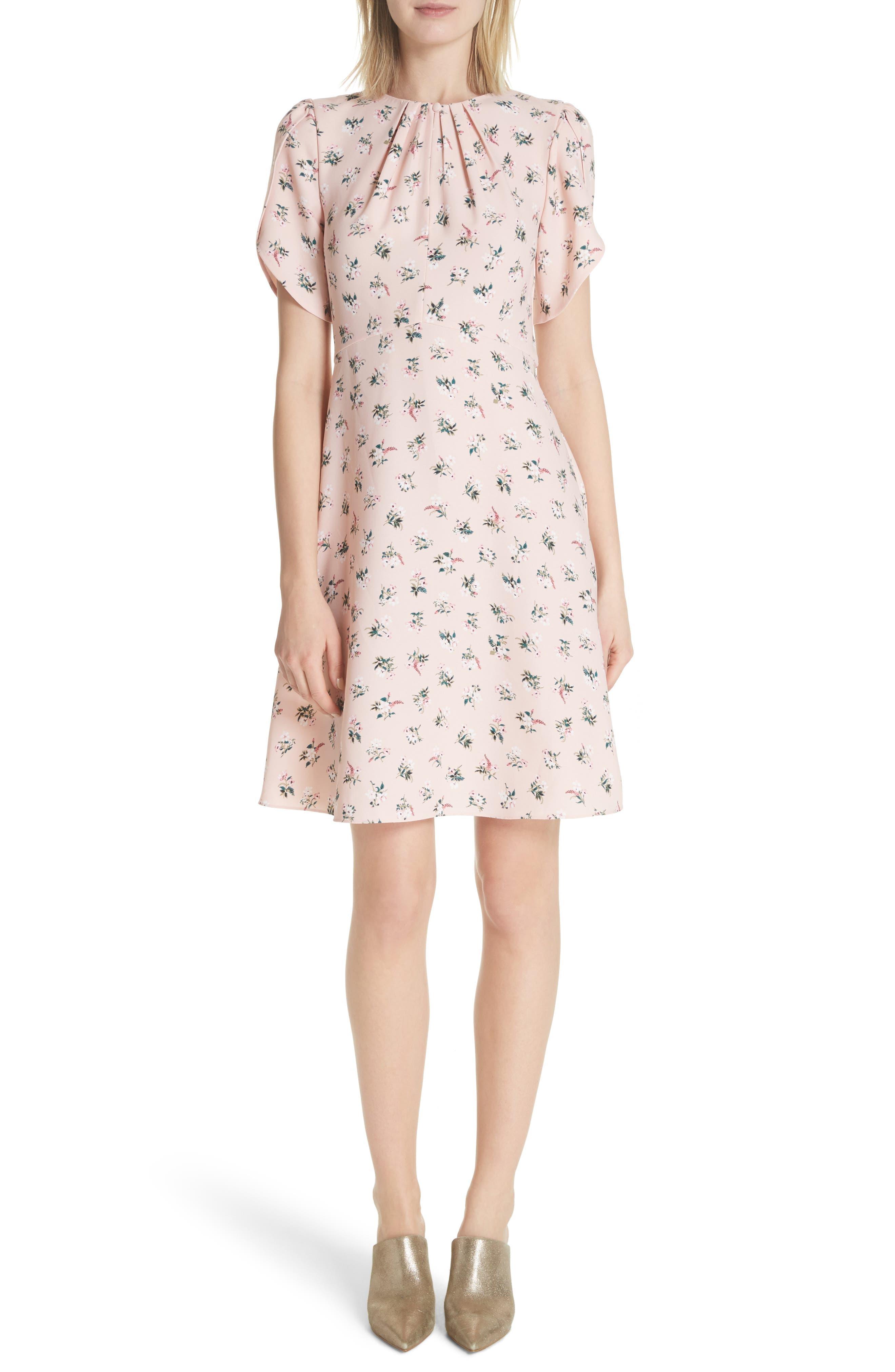 flora tulip sleeve dress,                         Main,                         color, Cameo Pink