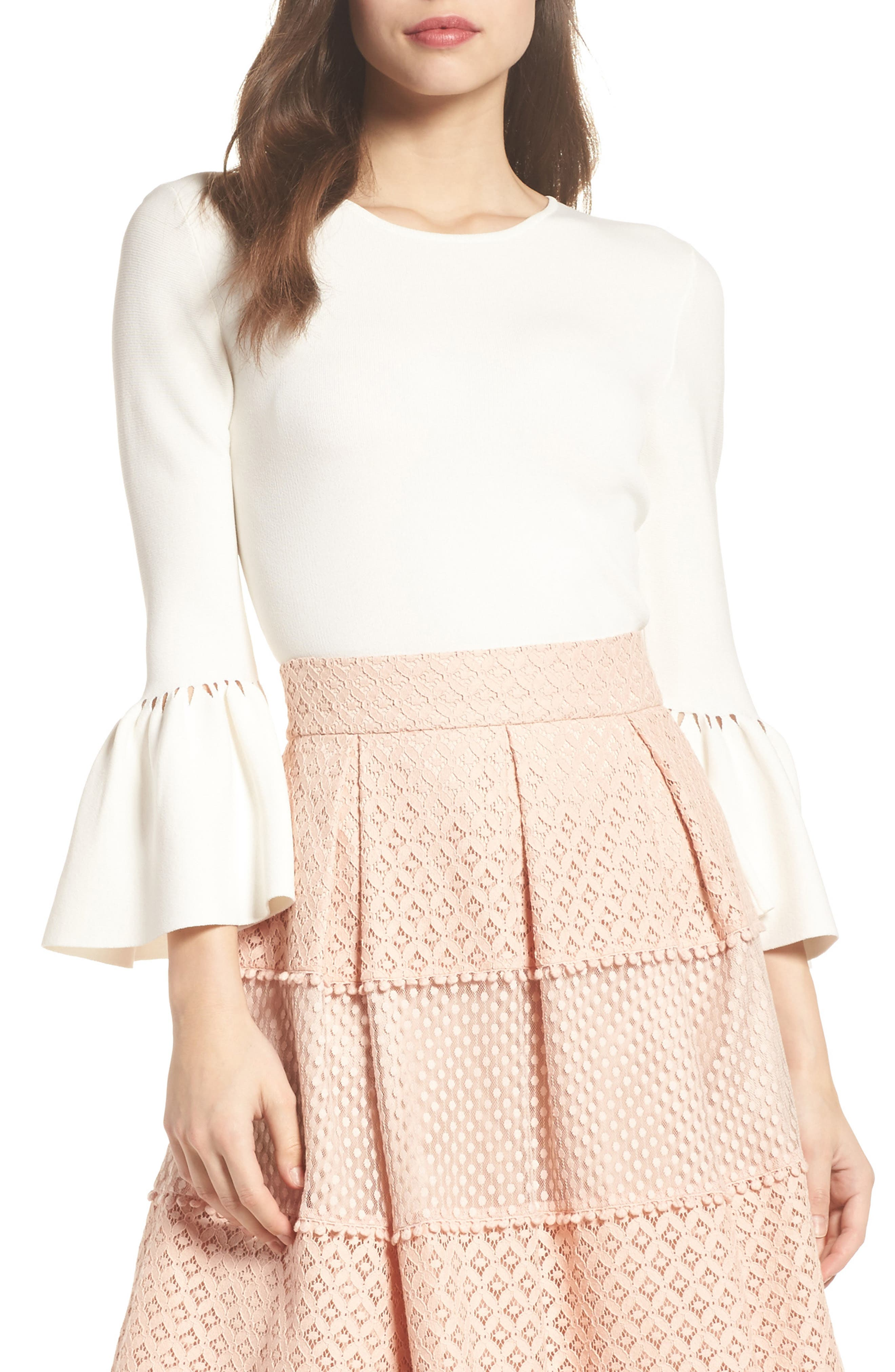 Social Bell Sleeve Top,                         Main,                         color, Ivy