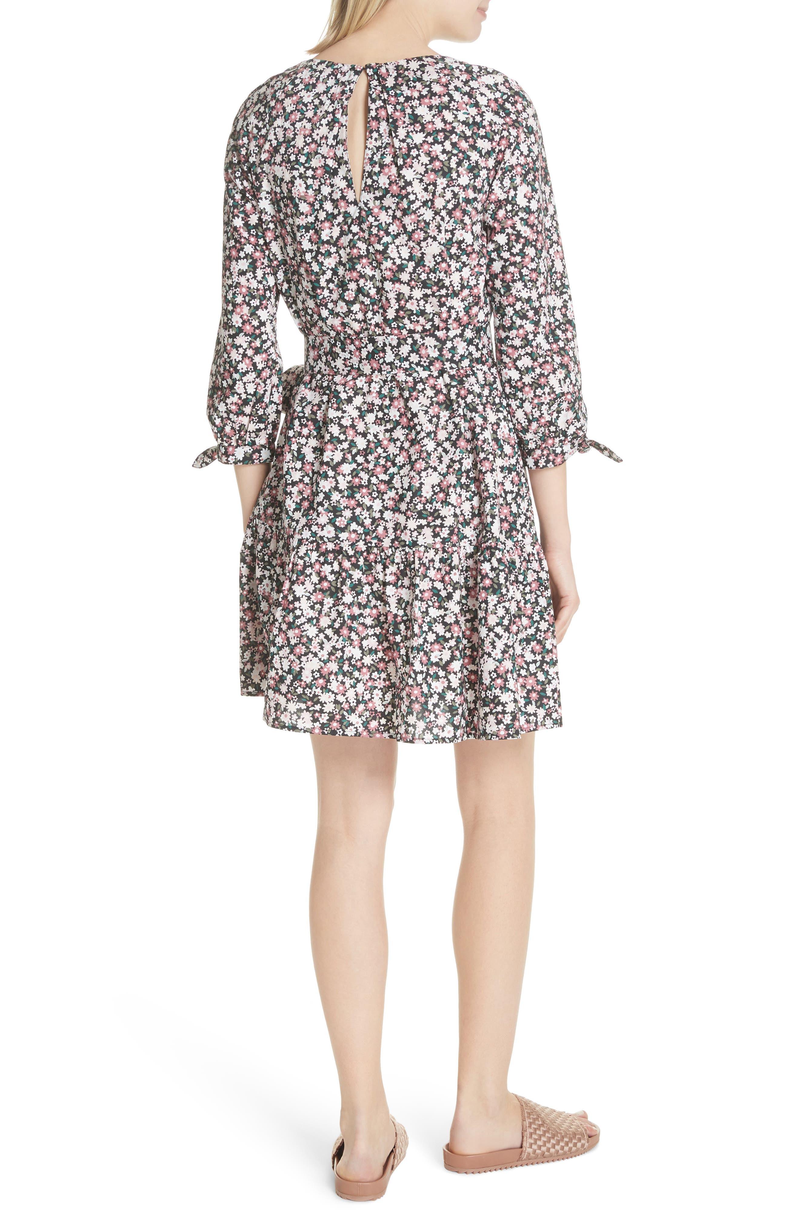 wildflower poplin dress,                             Alternate thumbnail 2, color,                             Black