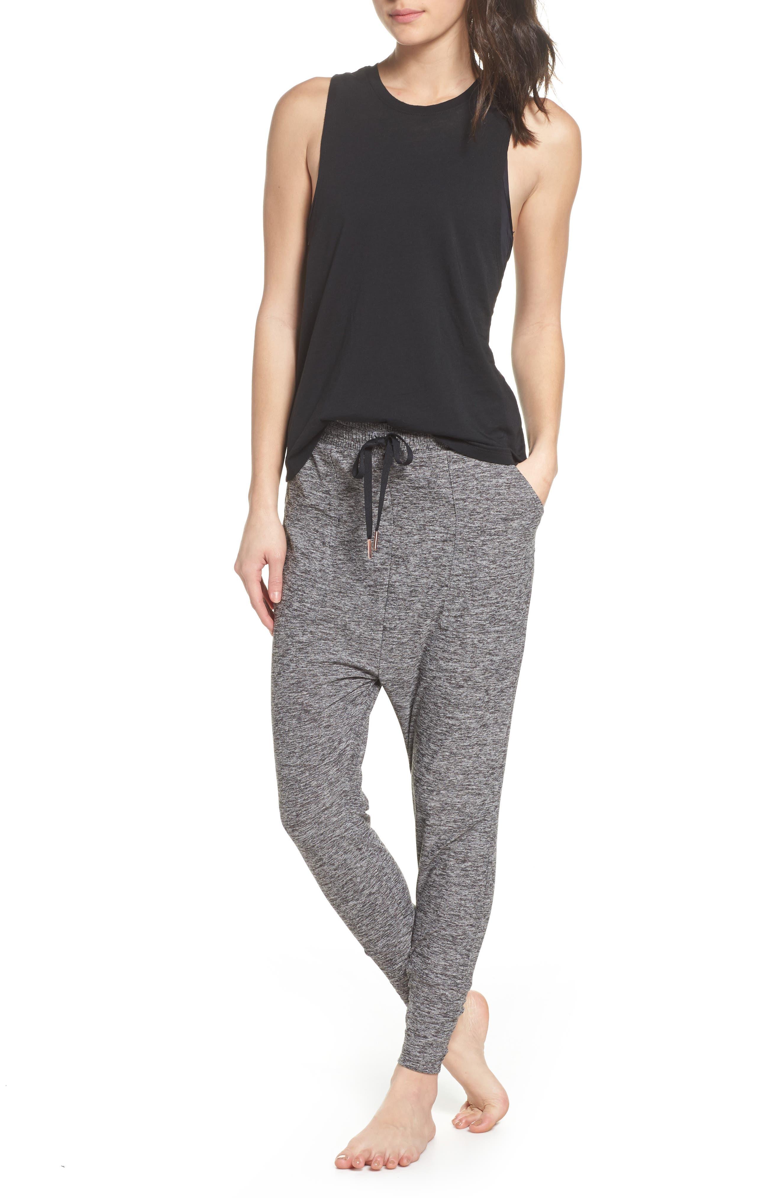 Weekend Traveler Midi Sweatpants,                             Alternate thumbnail 6, color,                             Black- White
