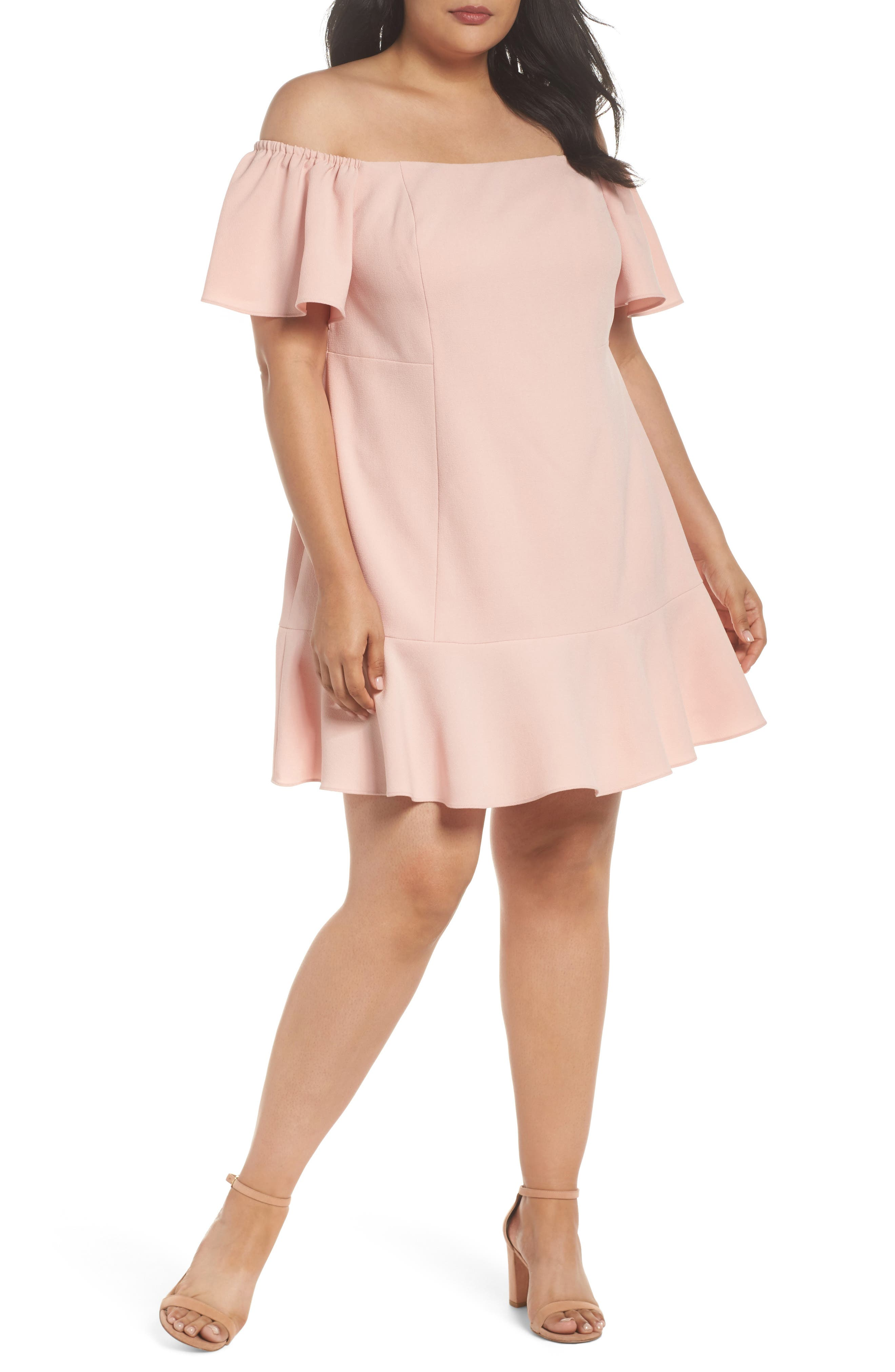 Off the Shoulder Crepe Dress,                         Main,                         color, Blush