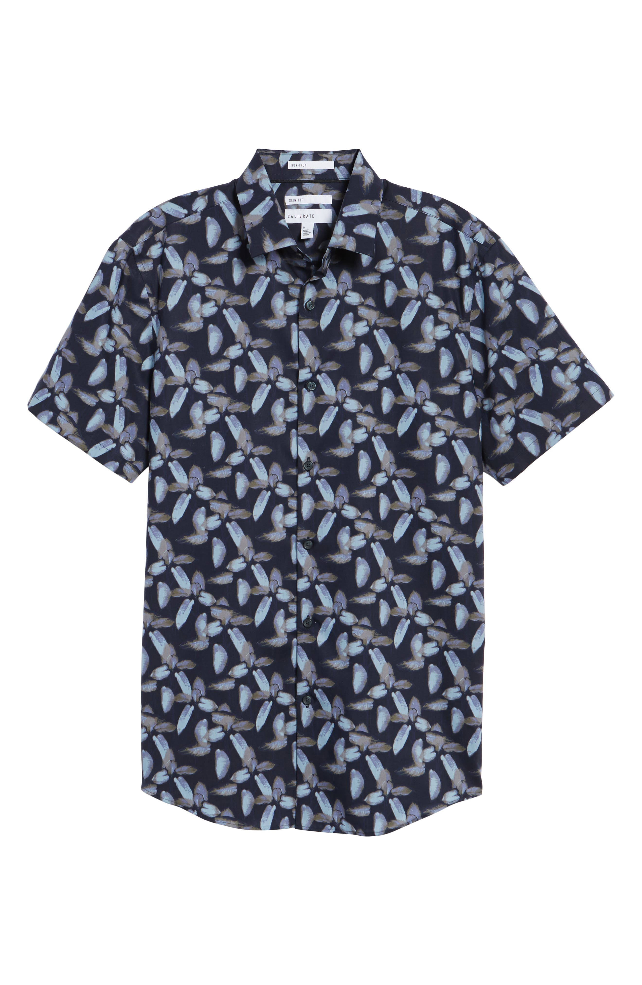 Floral Print Sport Shirt,                             Alternate thumbnail 6, color,                             Navy Night Painted Floral