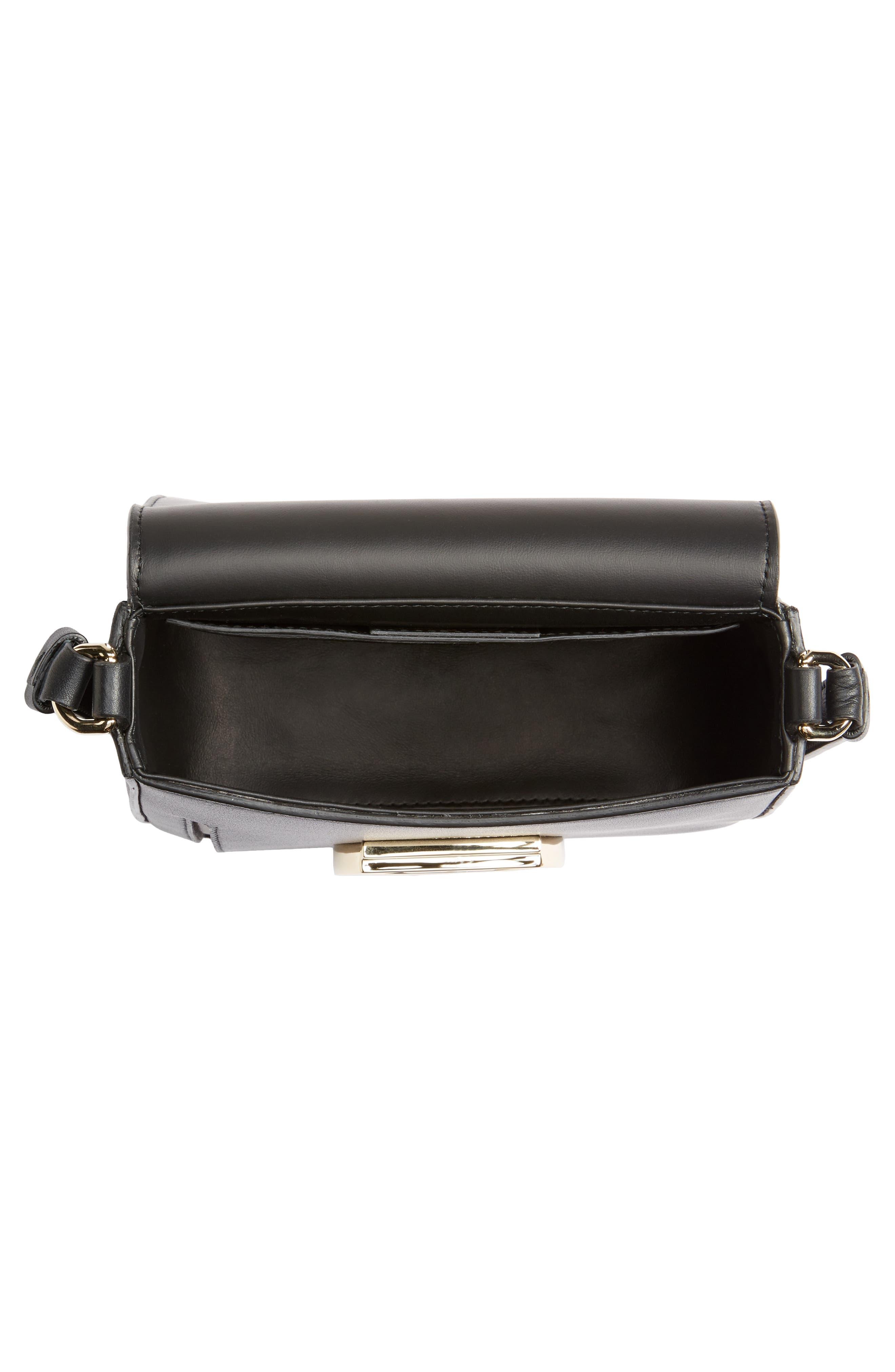 Gancio Lock Leather Crossbody Bag,                             Alternate thumbnail 4, color,                             Nero