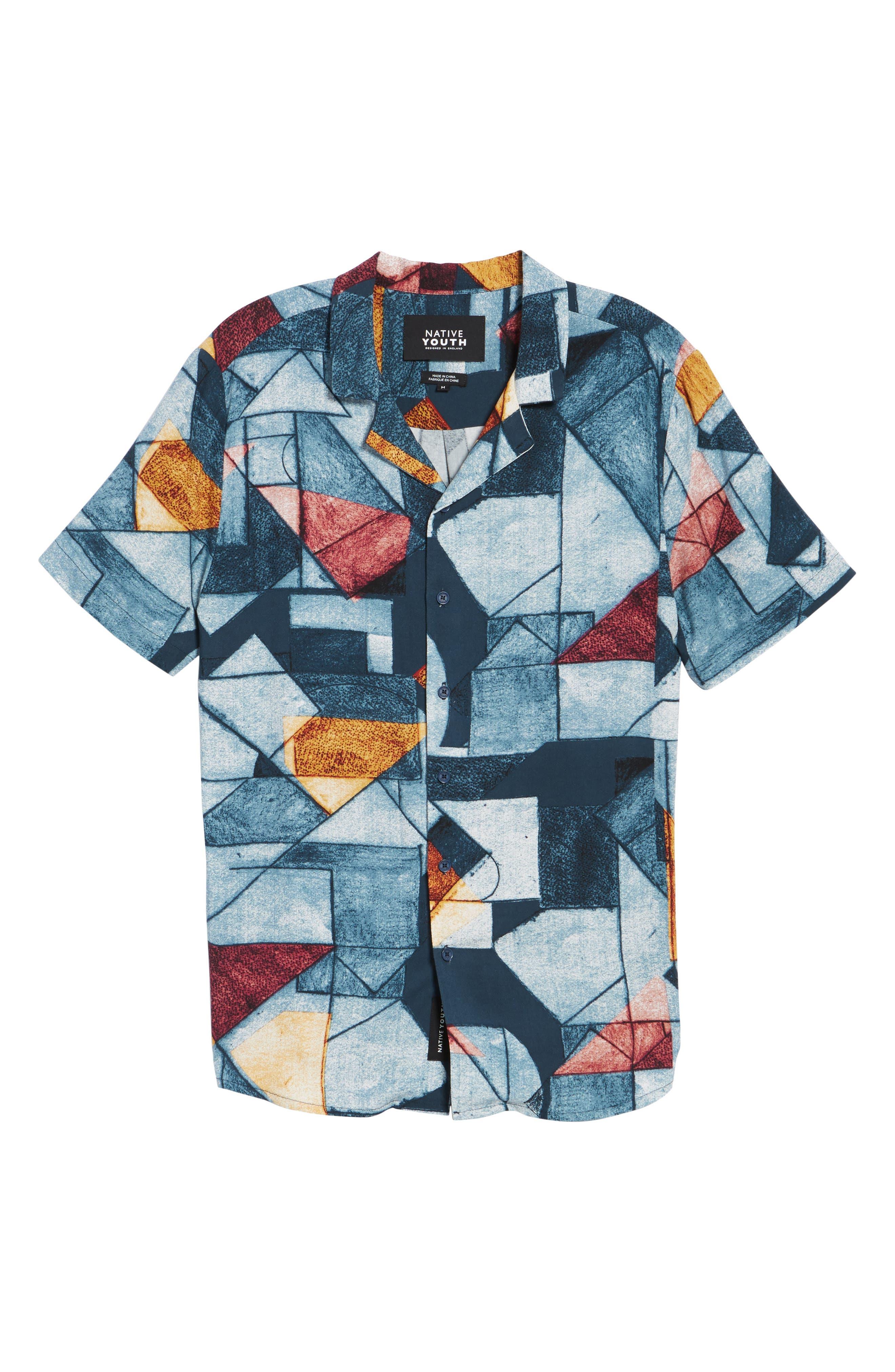 Olio Etch Woven Shirt,                             Alternate thumbnail 6, color,                             Indigo