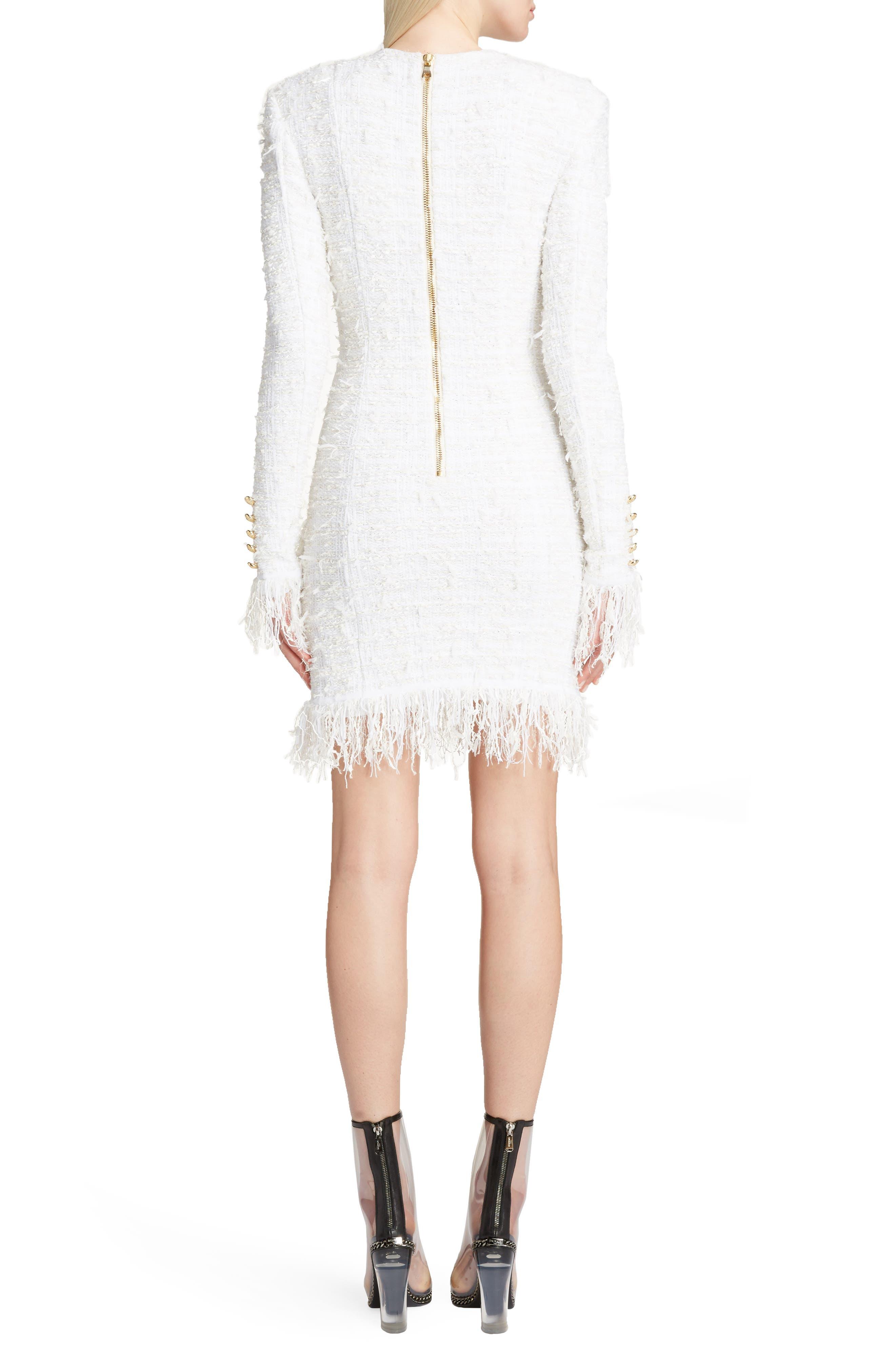 Fringe Tweed Dress,                             Alternate thumbnail 2, color,                             White