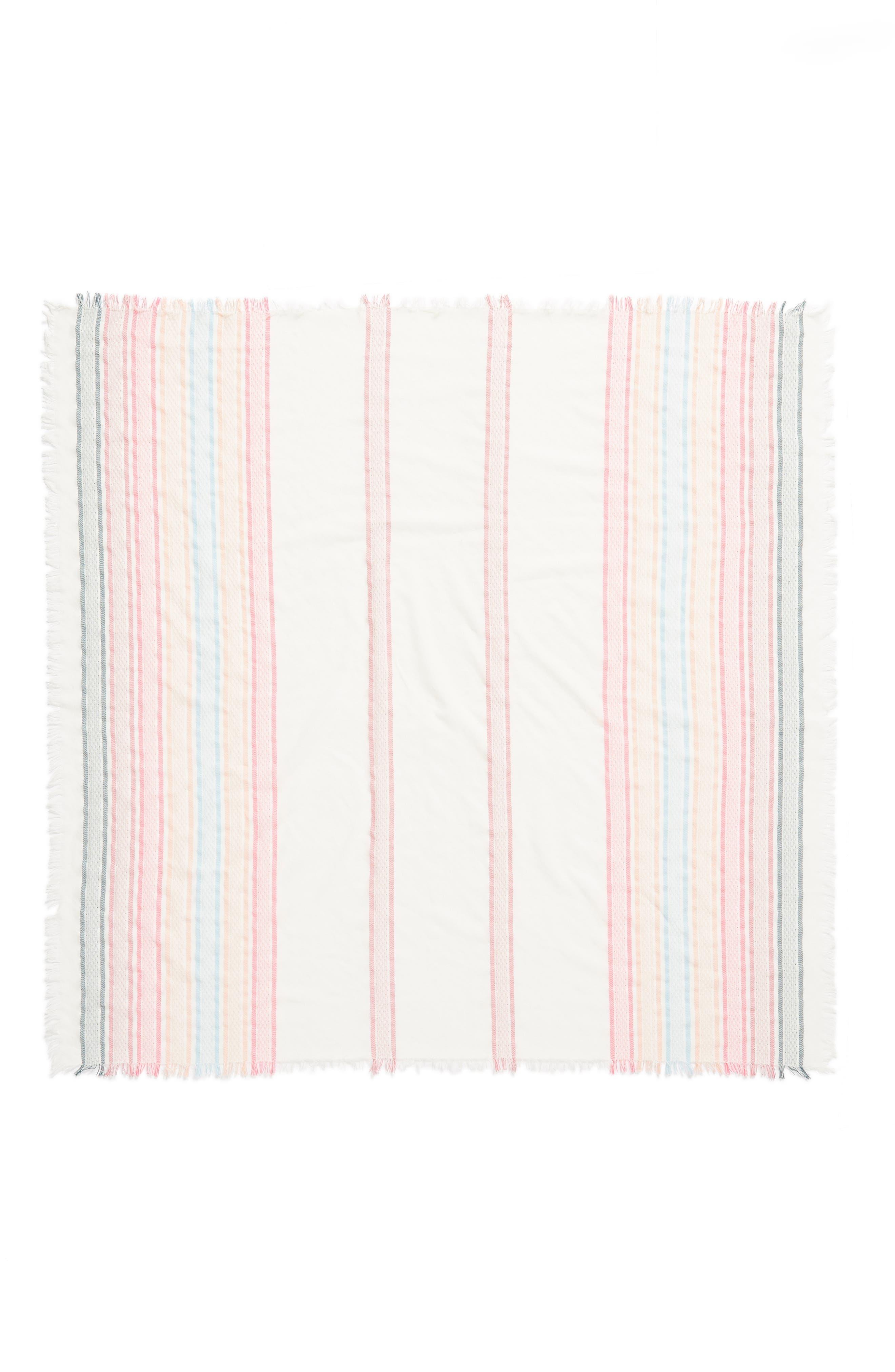 Textured Stripe Square Scarf,                             Alternate thumbnail 3, color,                             White