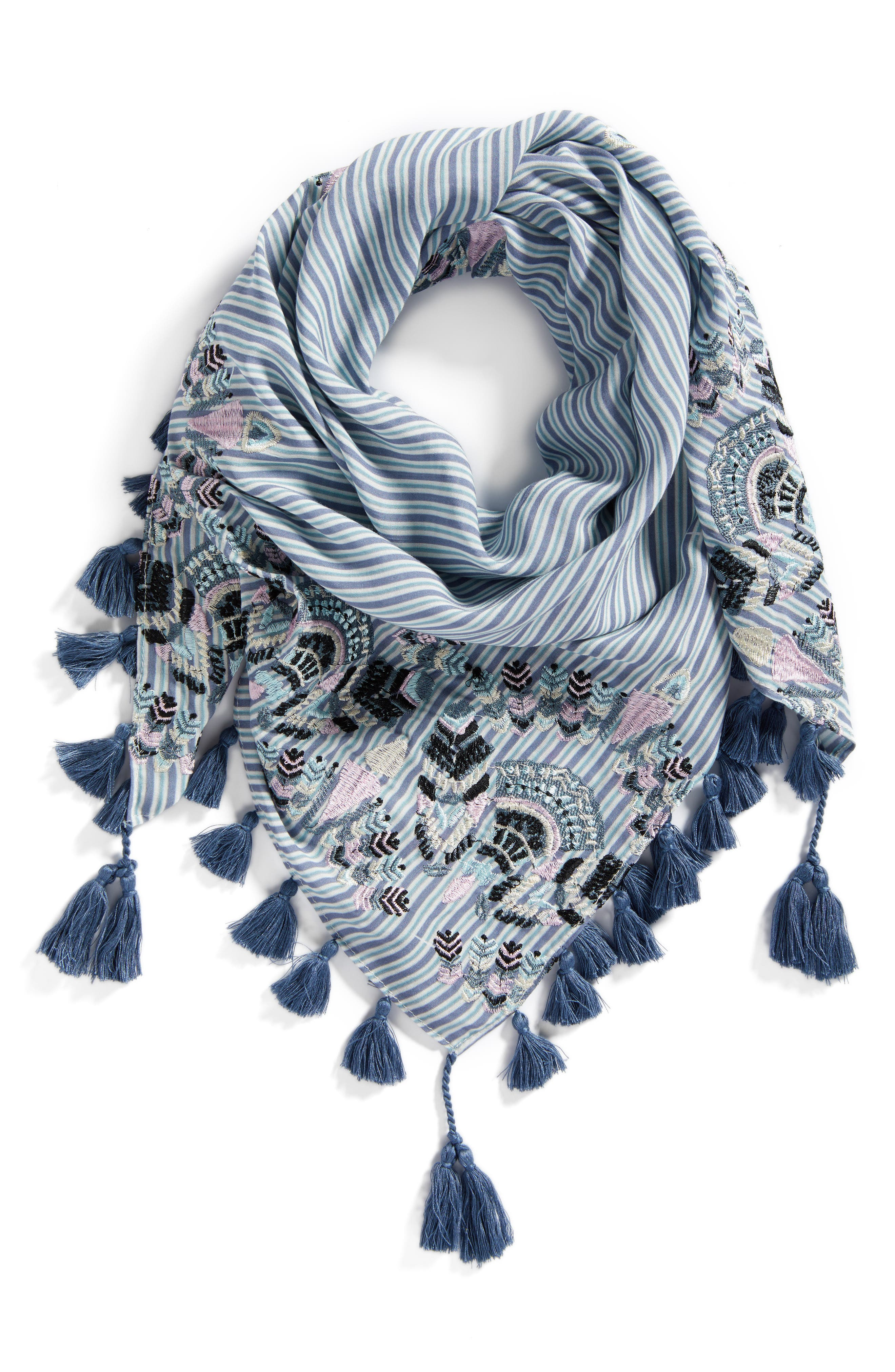 Embroidered Tassel Scarf,                             Alternate thumbnail 2, color,                             Blue