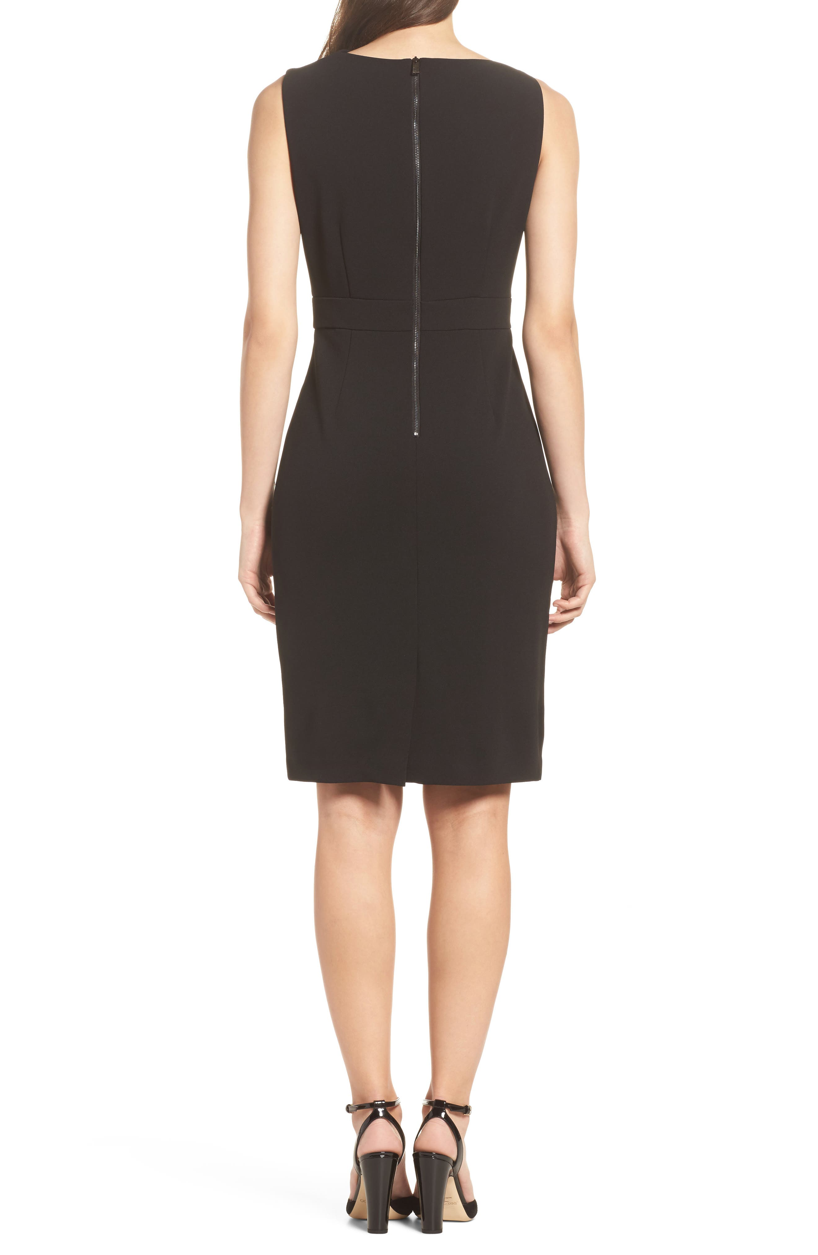 High Neck Sheath Dress,                             Alternate thumbnail 2, color,                             Black