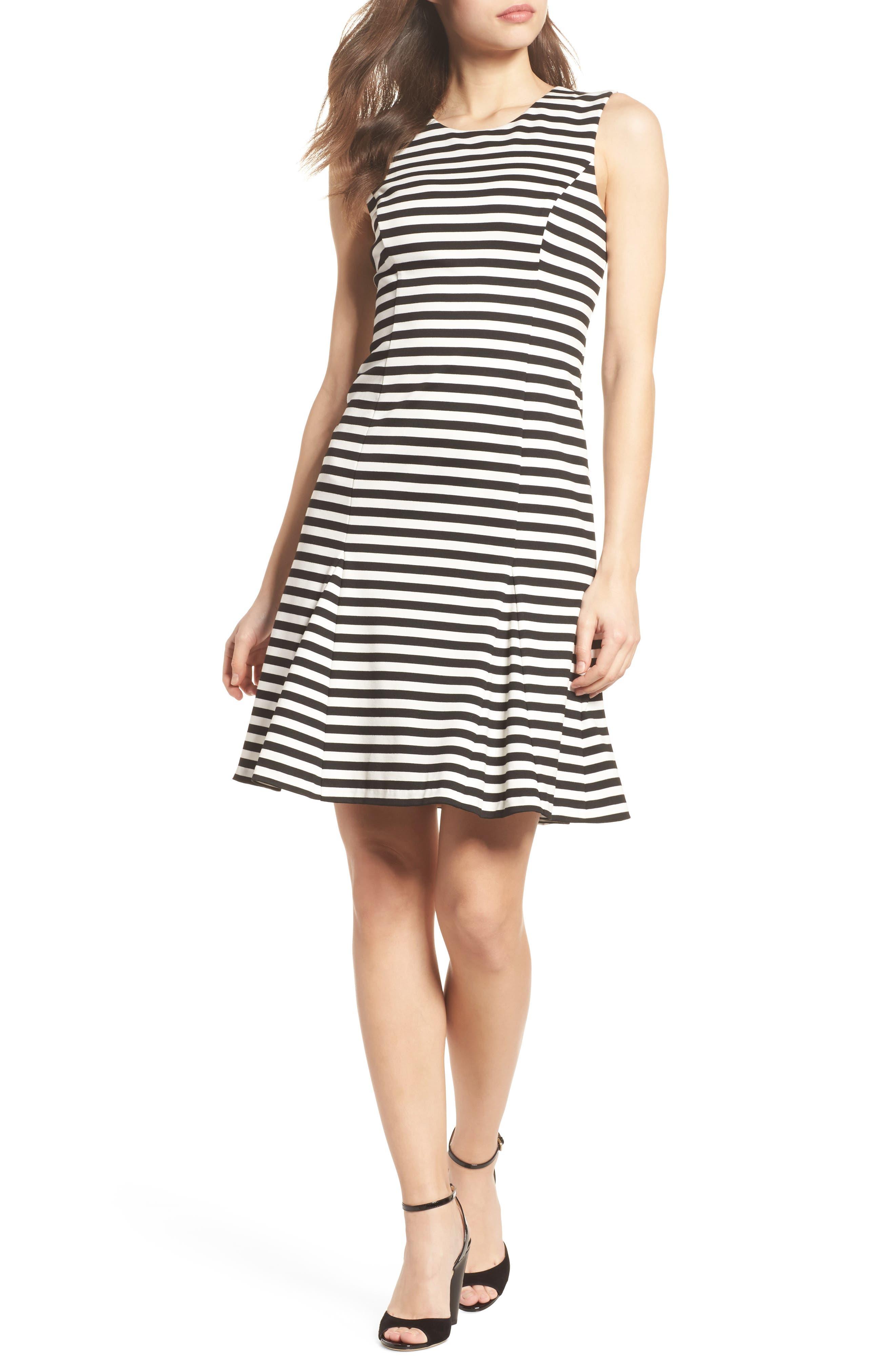 Stripe Scuba Crepe Fit & Flare Dress,                         Main,                         color, Black/ Ivory