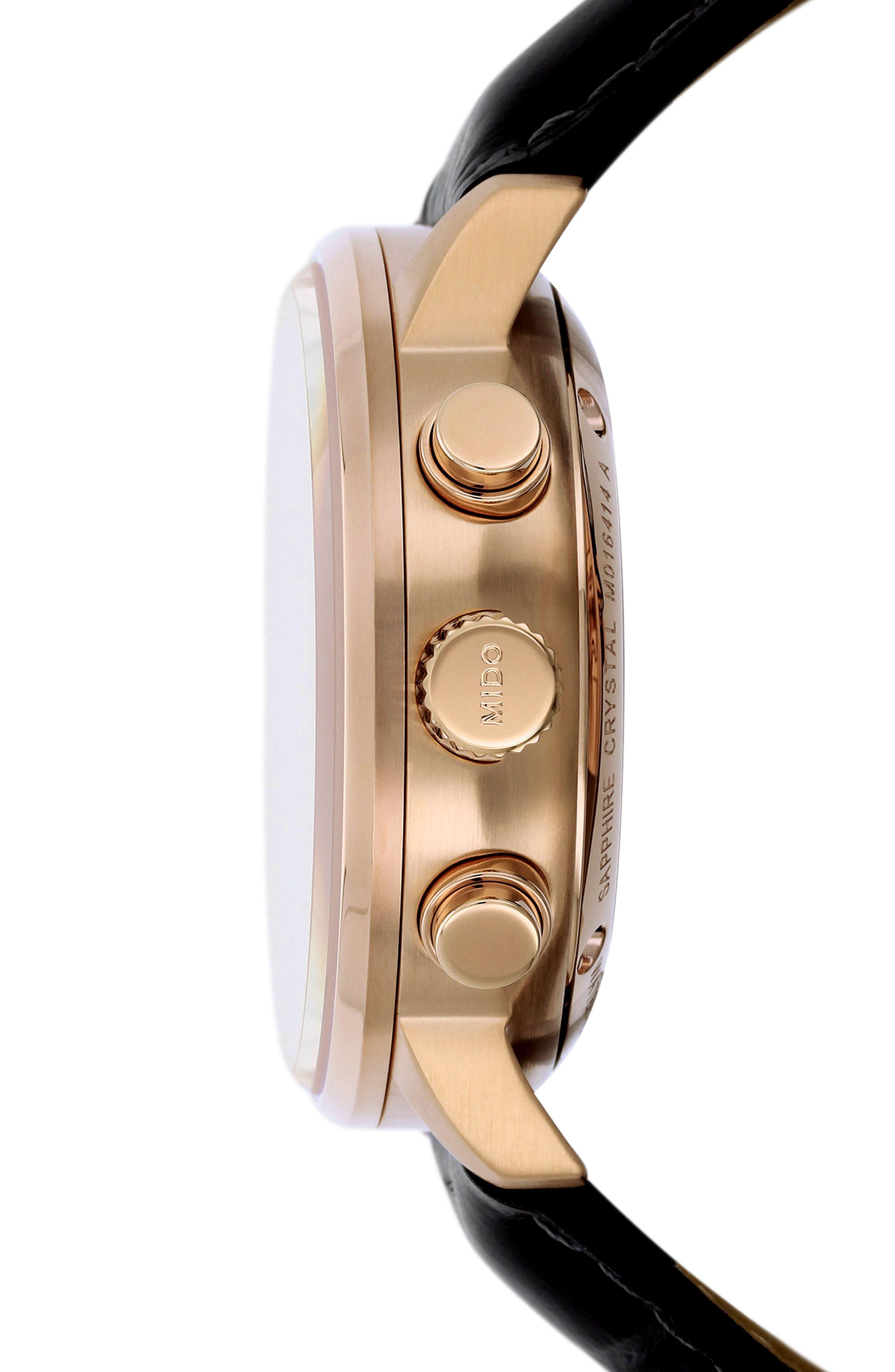 Alternate Image 3  - Mido Commander Chronometer Leather Strap Watch, 42mm