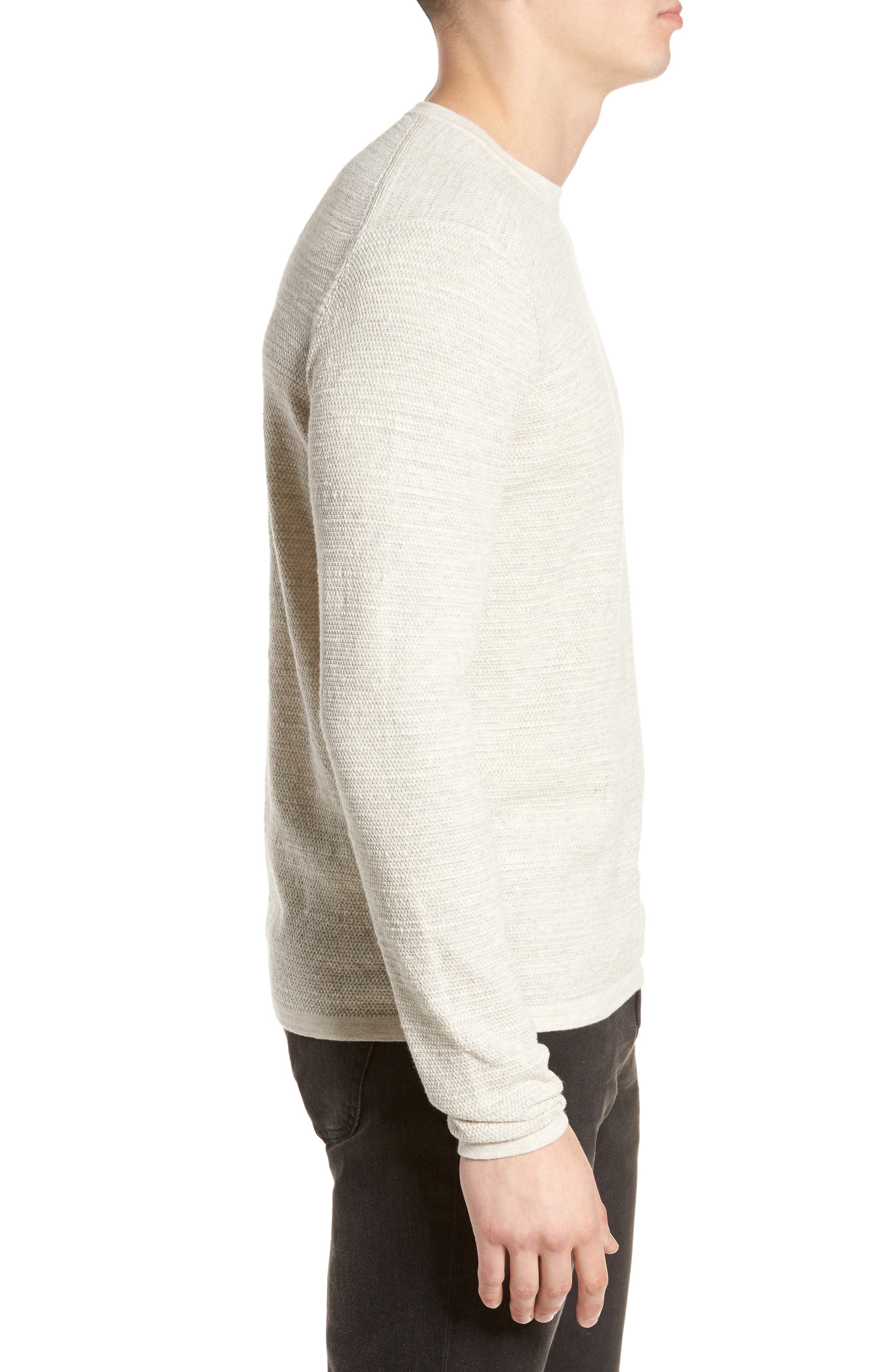 Slub Thermal Knit Sweater,                             Alternate thumbnail 3, color,                             Cream Heather