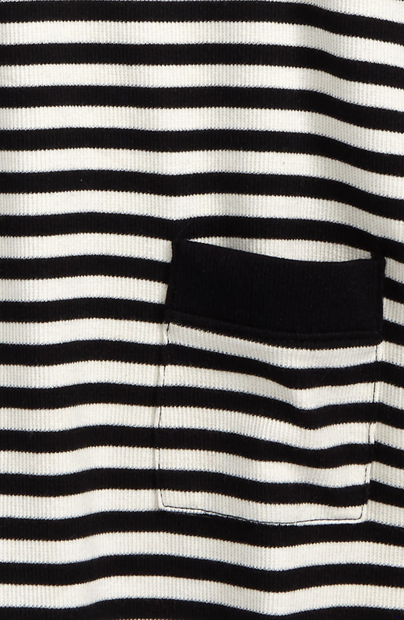 Heart Elbow Patch Stripe Tunic Top,                             Alternate thumbnail 3, color,                             Black Rock- Ivory Stripe