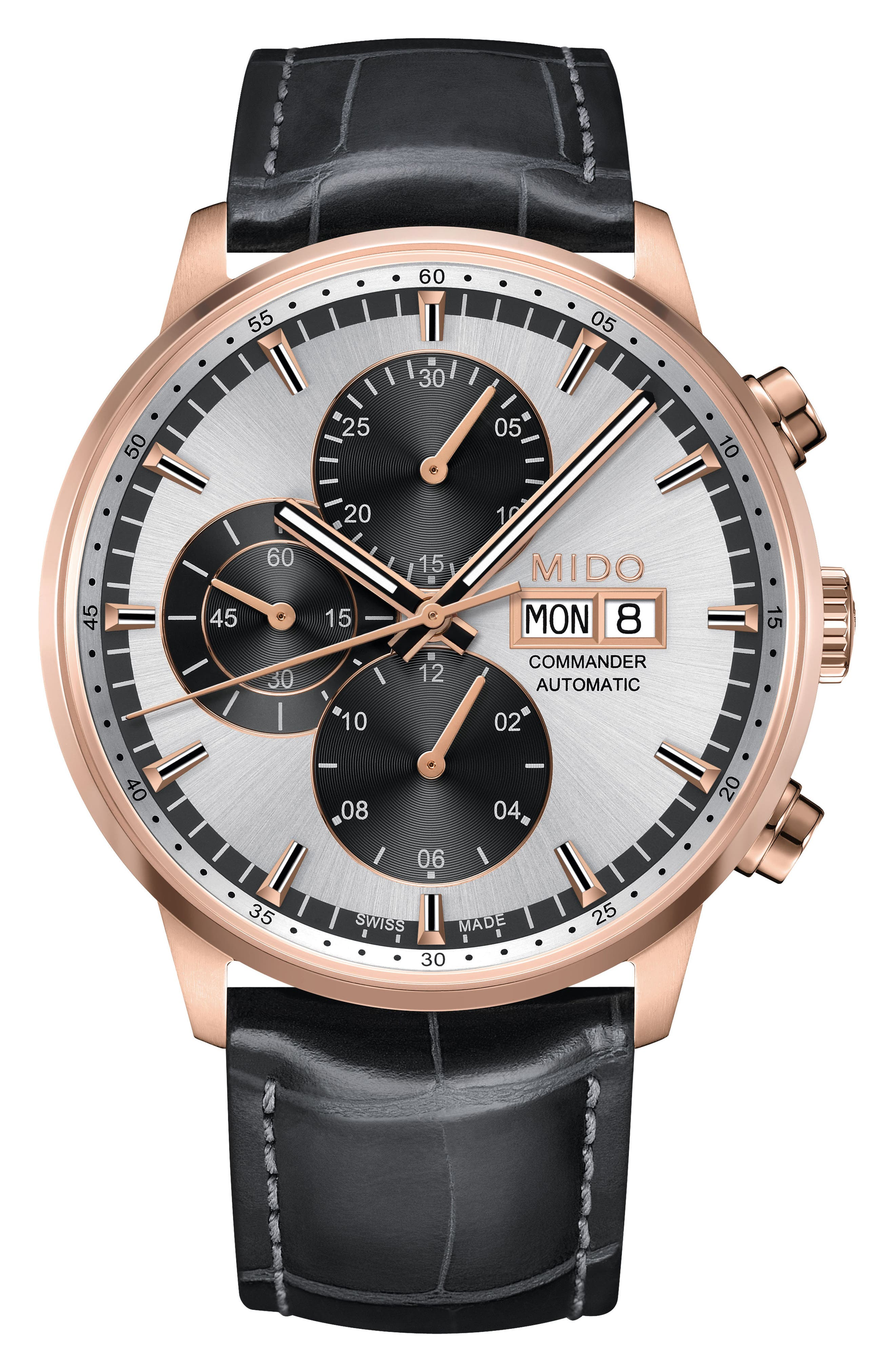 Commander Chronometer Leather Strap Watch, 42mm,                         Main,                         color, Black/ Silver/ Rose Gold