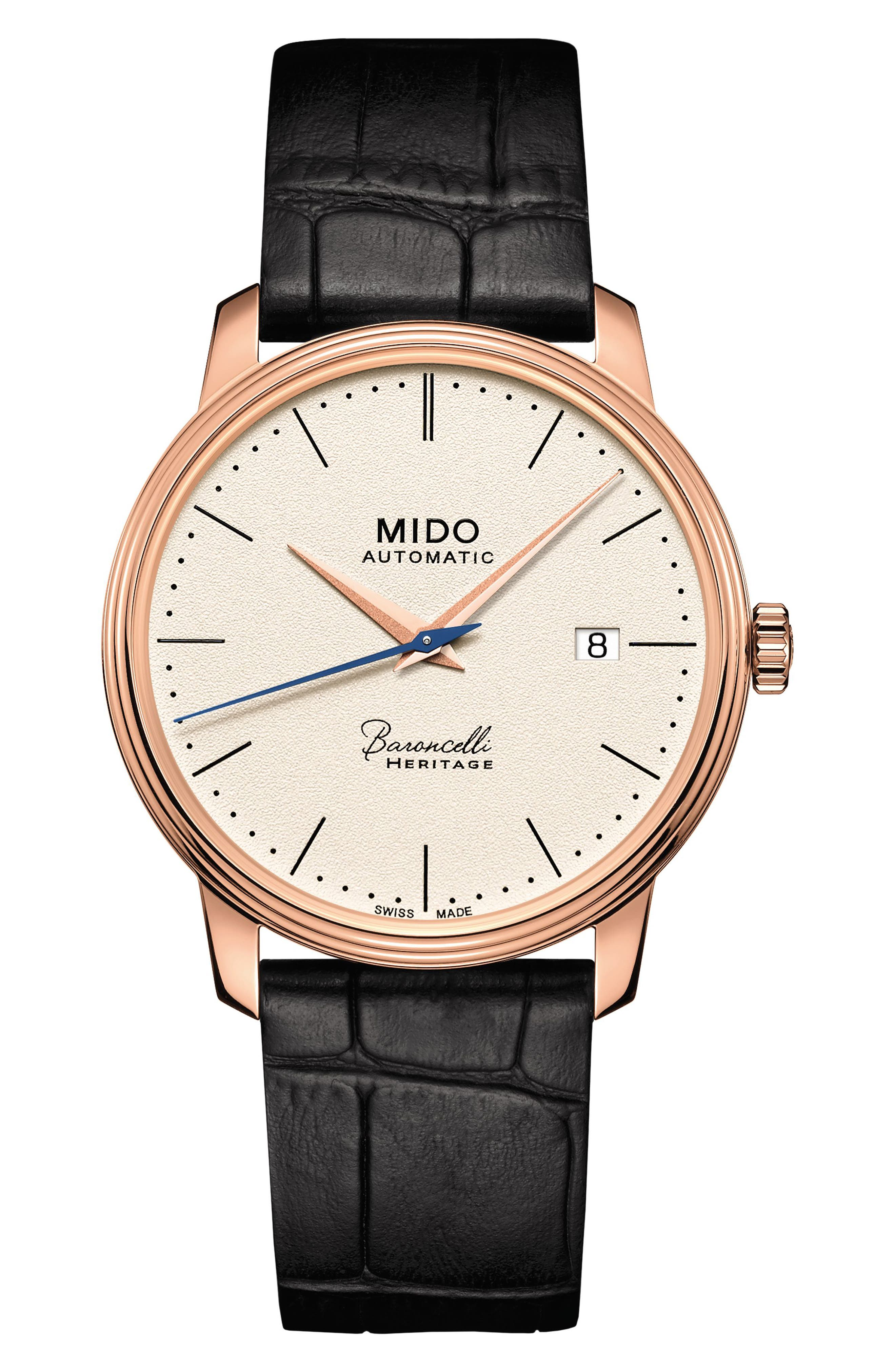 Baroncelli Heritage Automatic Leather Strap Watch, 39mm,                         Main,                         color, Black/ Tan/ Rose Gold