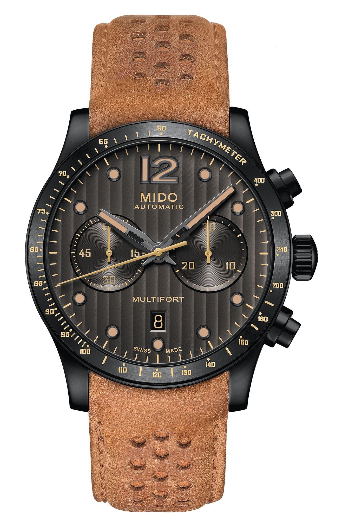 Multifort Adventure Chronograph Leather Strap Watch, 44mm,                         Main,                         color, Tan/ Grey/ Gunmetal