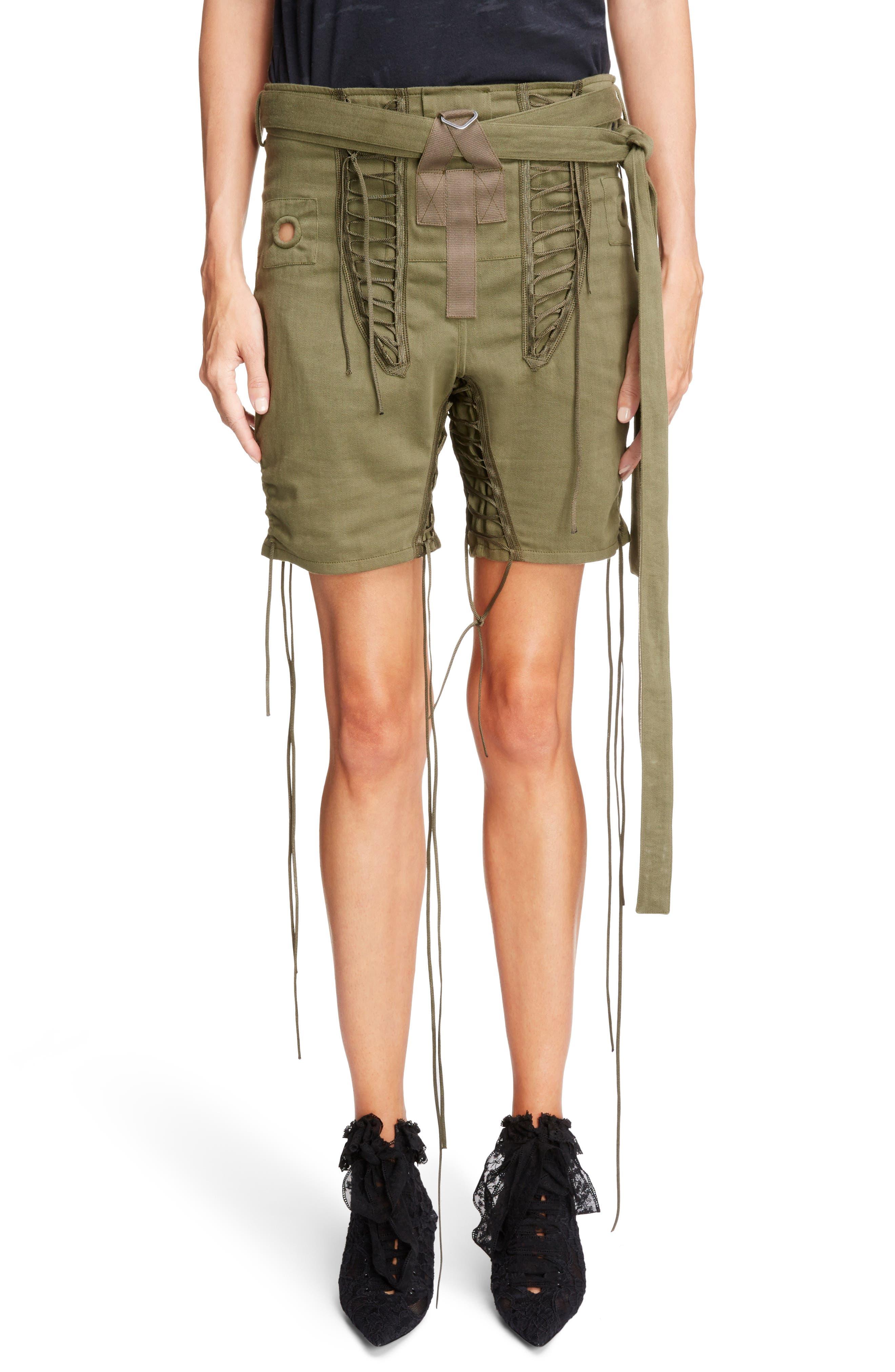 Laced Cotton & Linen Shorts,                         Main,                         color, Kaki