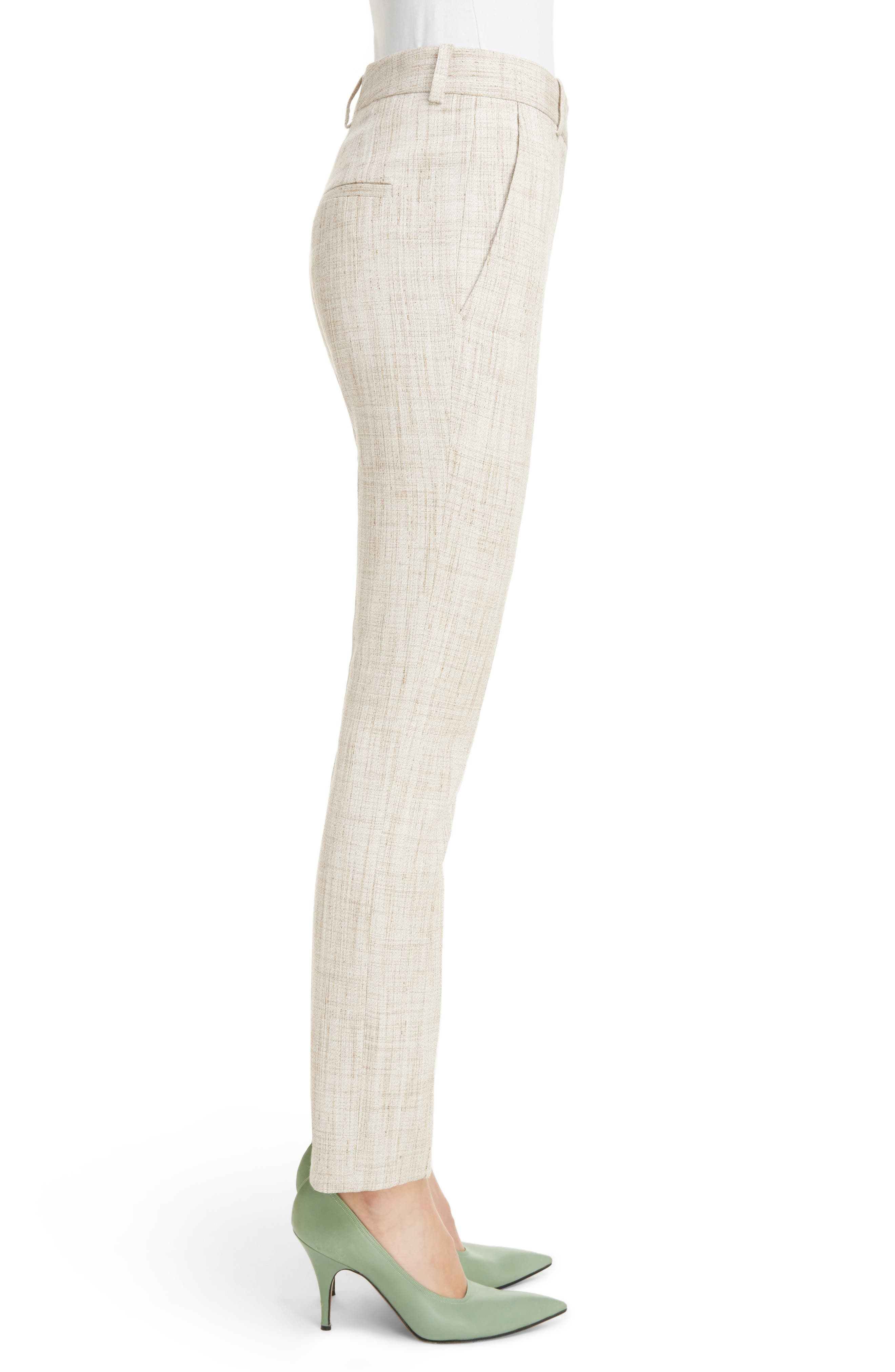 Tweed Slim Leg Trousers,                             Alternate thumbnail 3, color,                             White-Beige