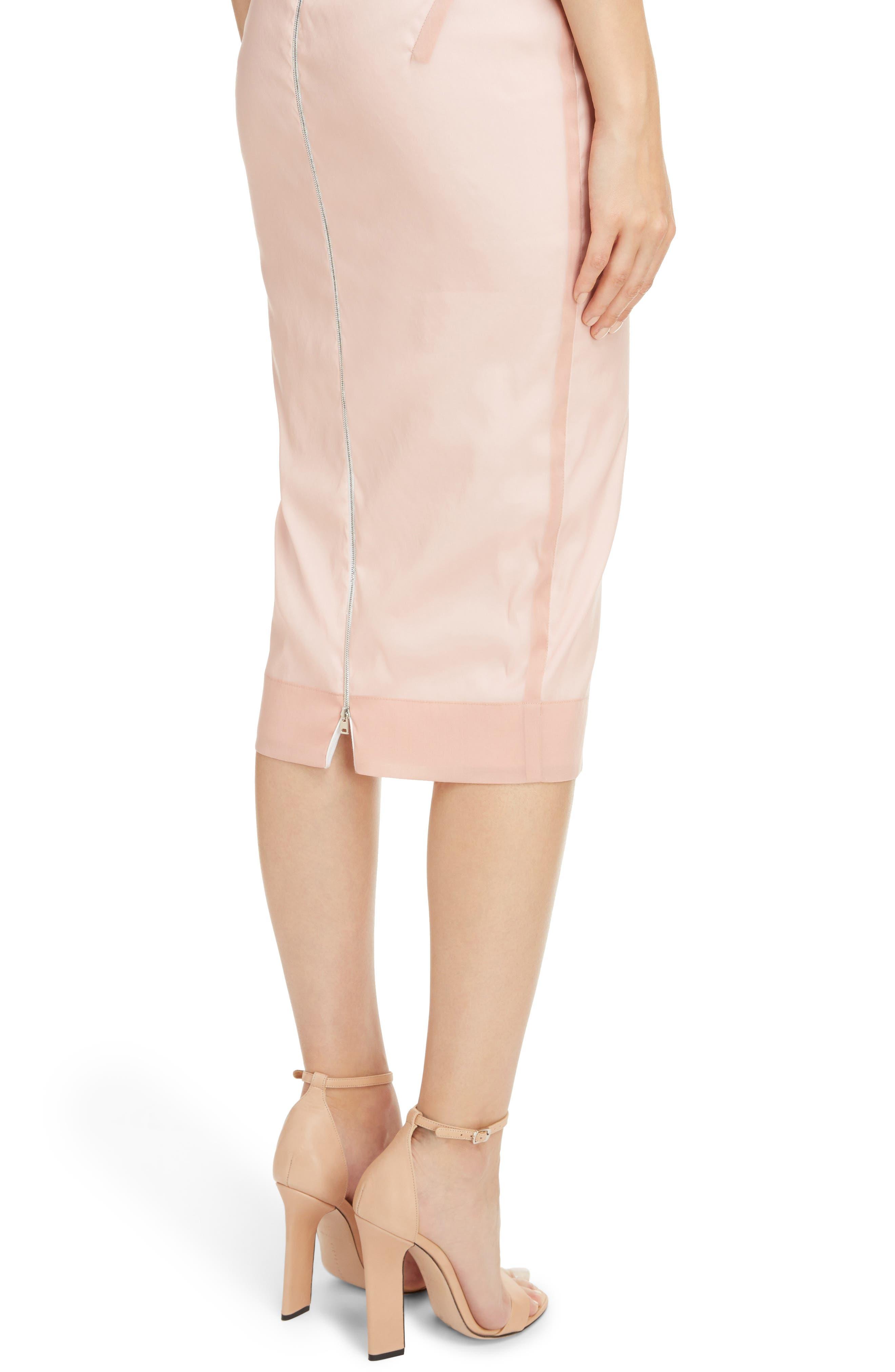 Stretch Silk Organza Sheath Dress,                             Alternate thumbnail 4, color,                             Dusty Pink