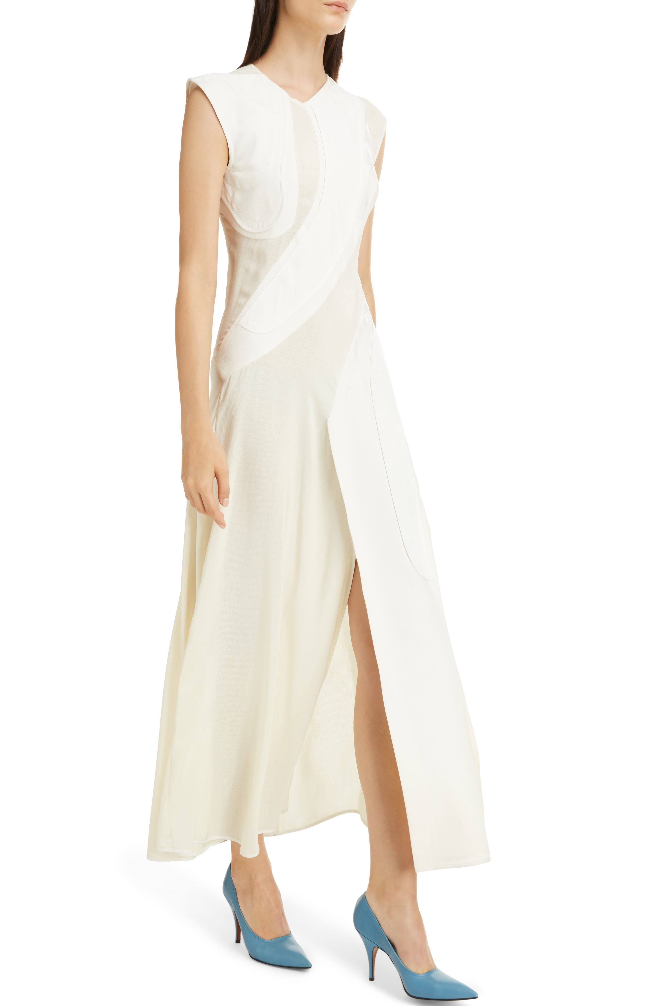 Patchwork Maxi Dress,                             Alternate thumbnail 4, color,                             Off White