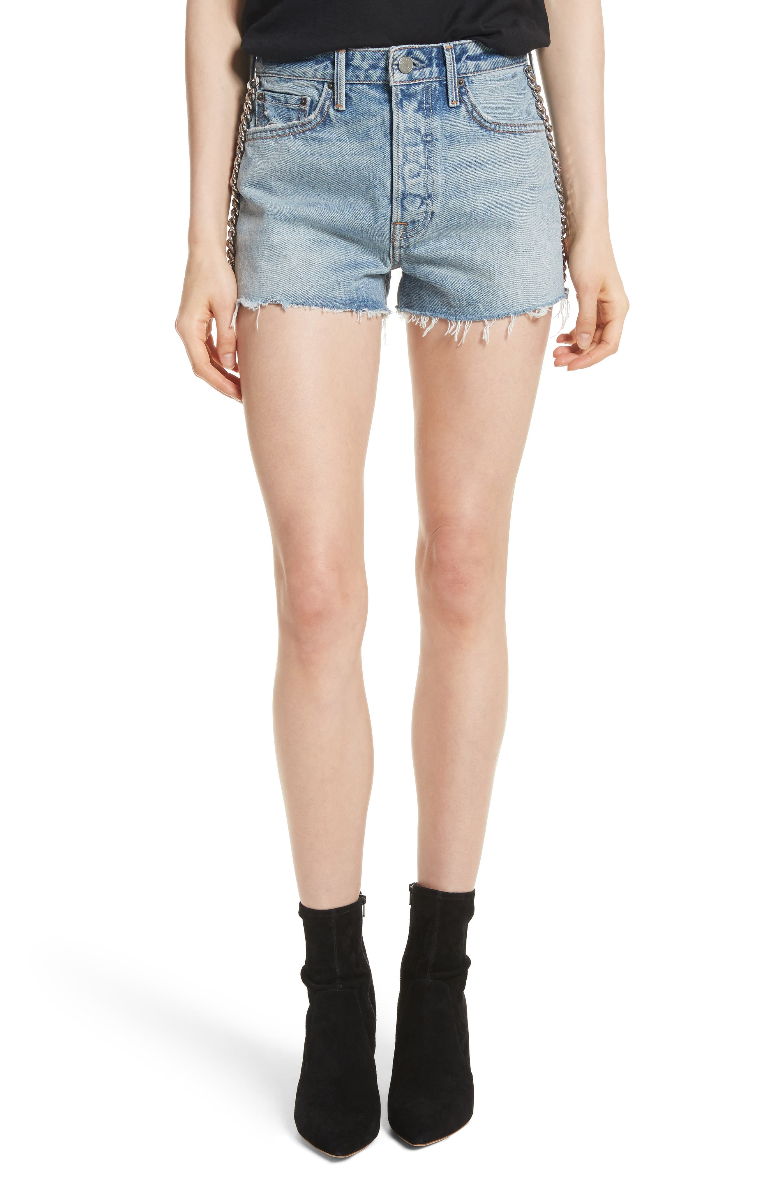 Cindy Rigid High Waist Denim Shorts,                             Main thumbnail 1, color,                             Cast Iron