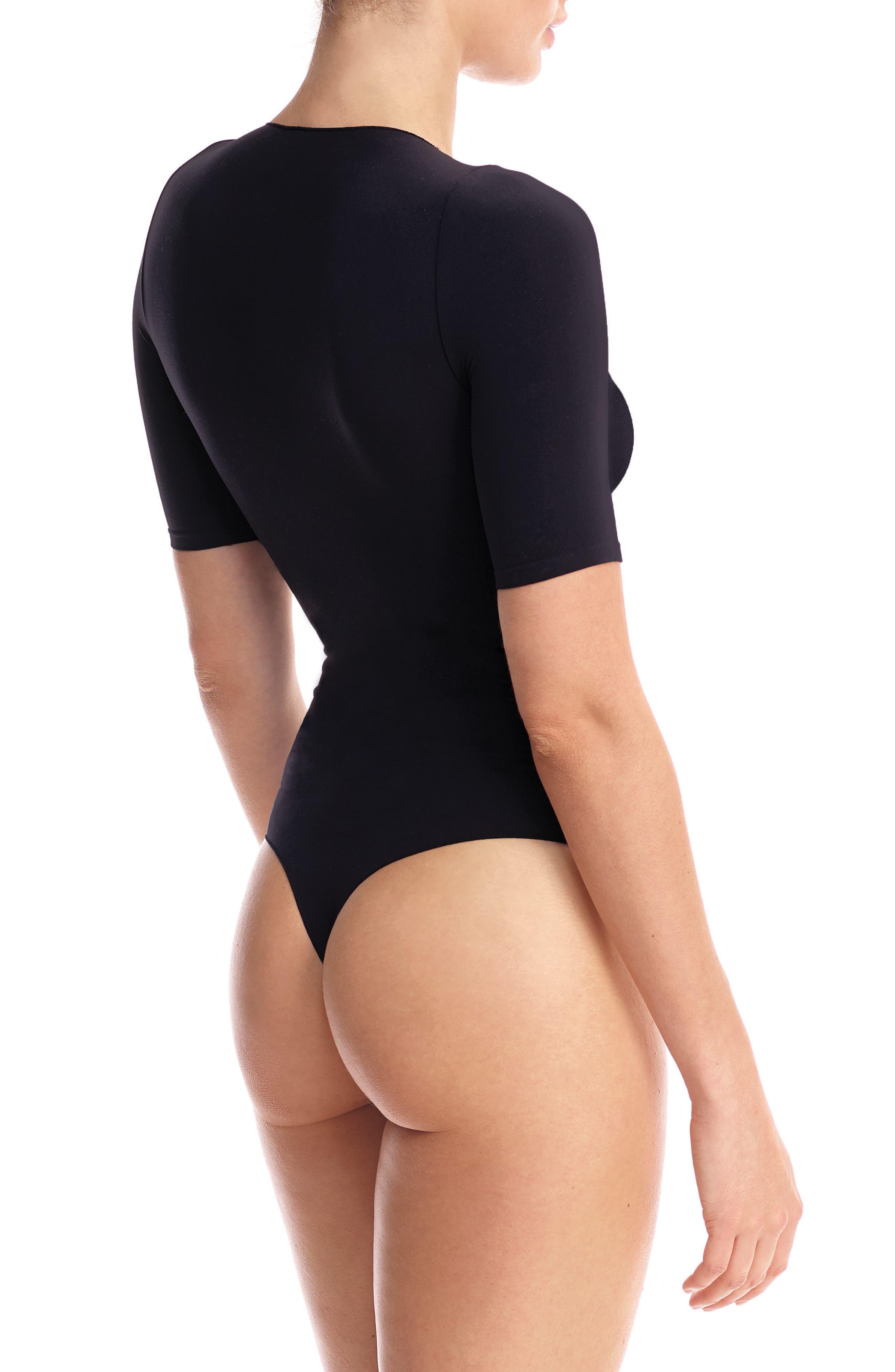 Ballet Boat Neck Thong Bodysuit,                             Alternate thumbnail 2, color,                             Black
