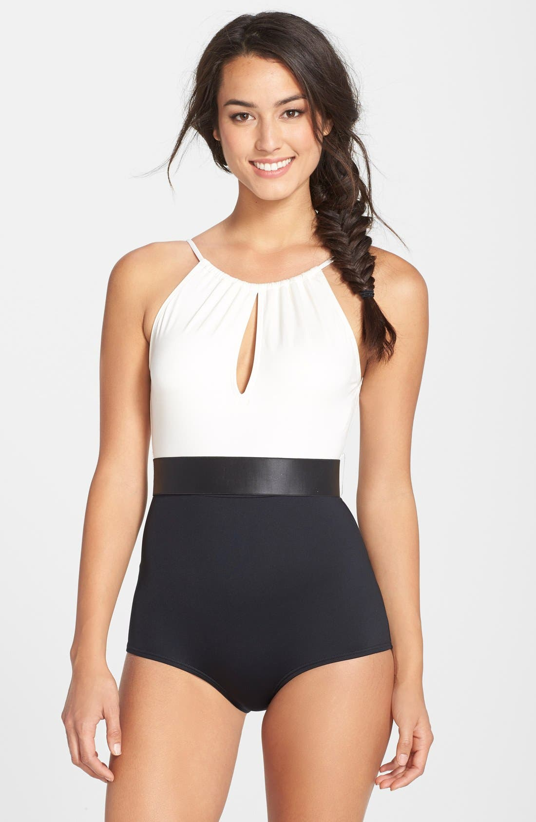 Alternate Image 1 Selected - Carmen Marc Valvo High Neck Pleated Maillot