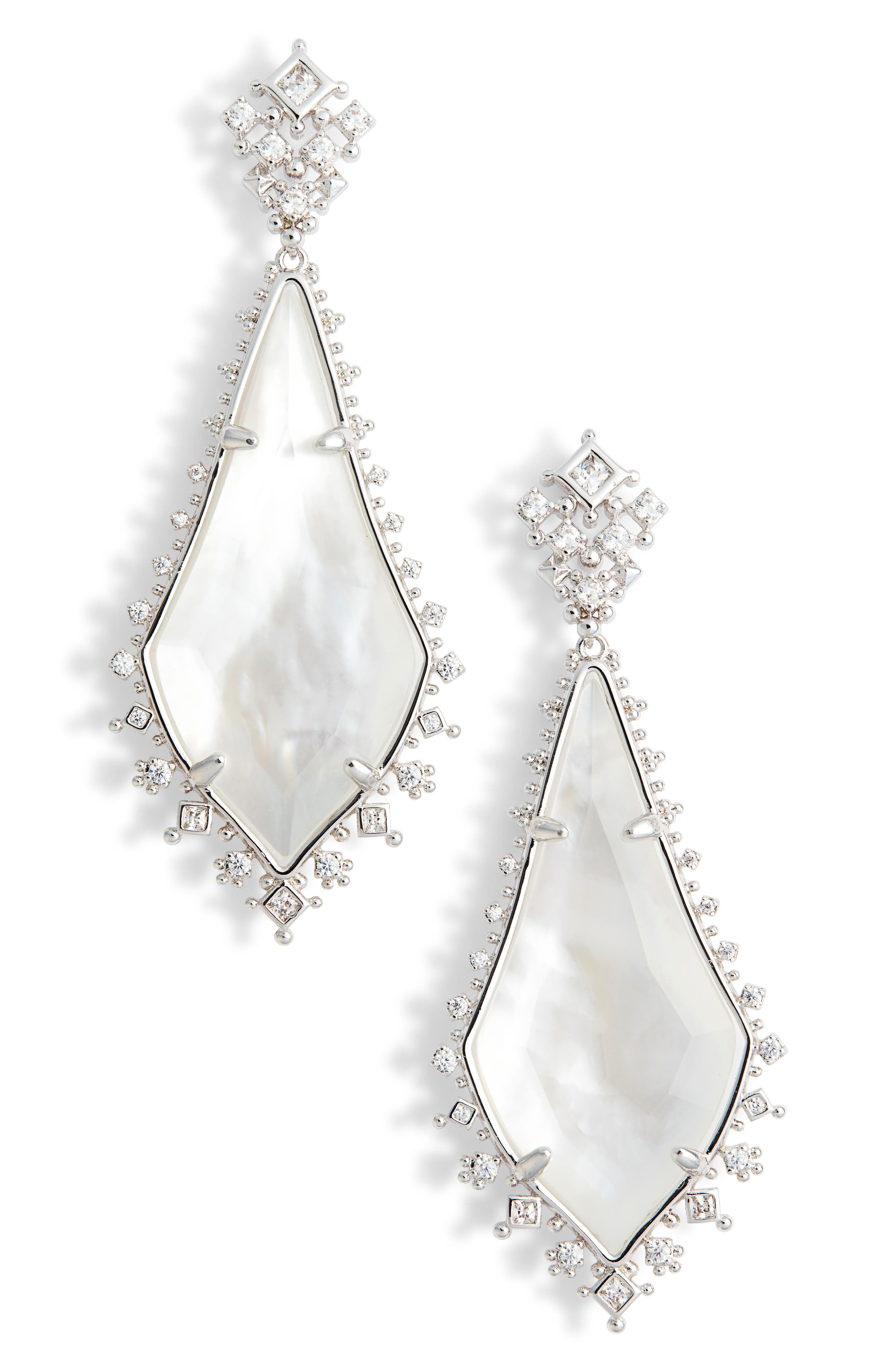 Martha Mother of Pearl Drop Earrings,                         Main,                         color, Silver