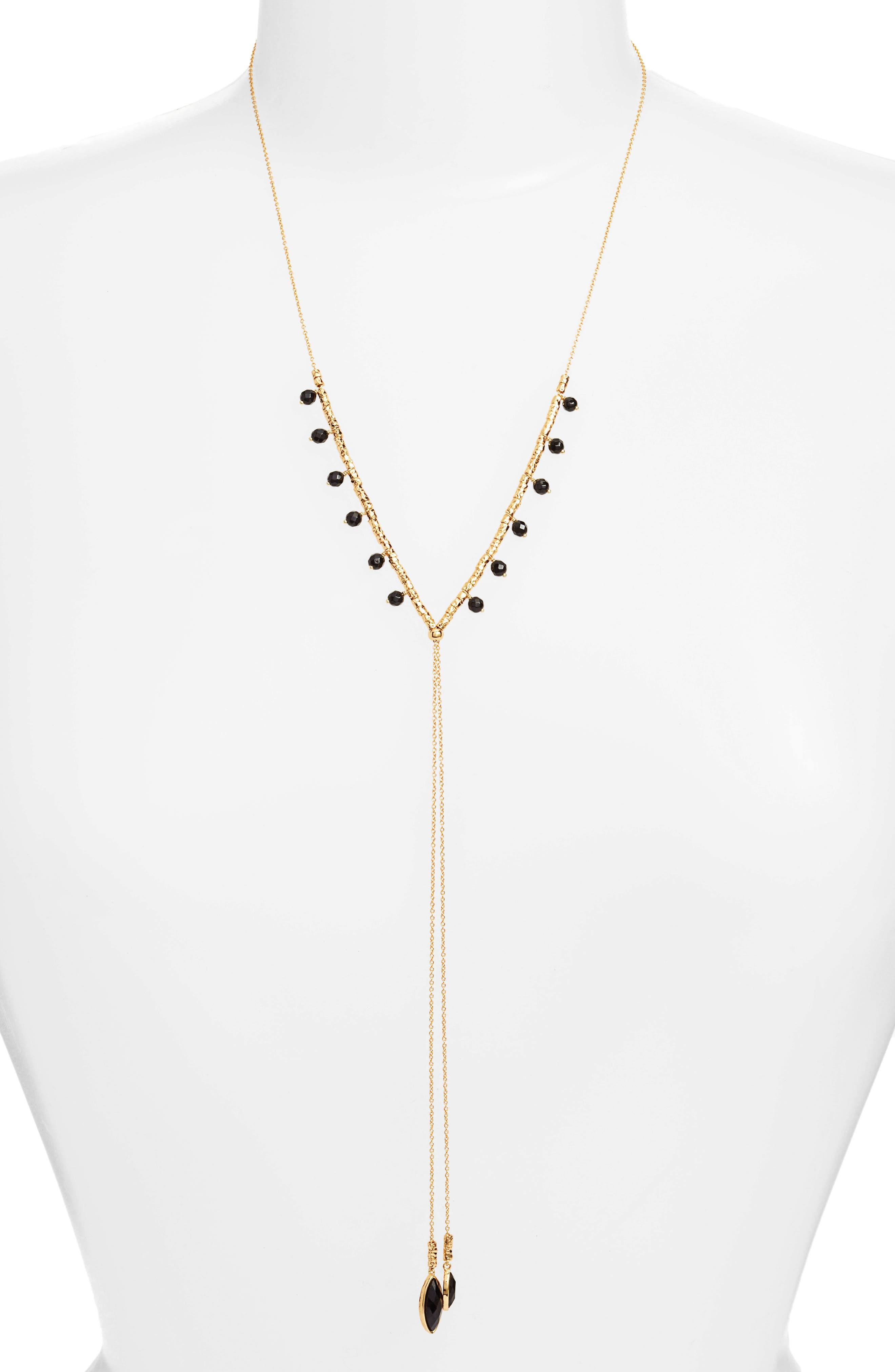 Palisades Adjustable Necklace,                             Main thumbnail 1, color,                             Black Onyx/ Gold