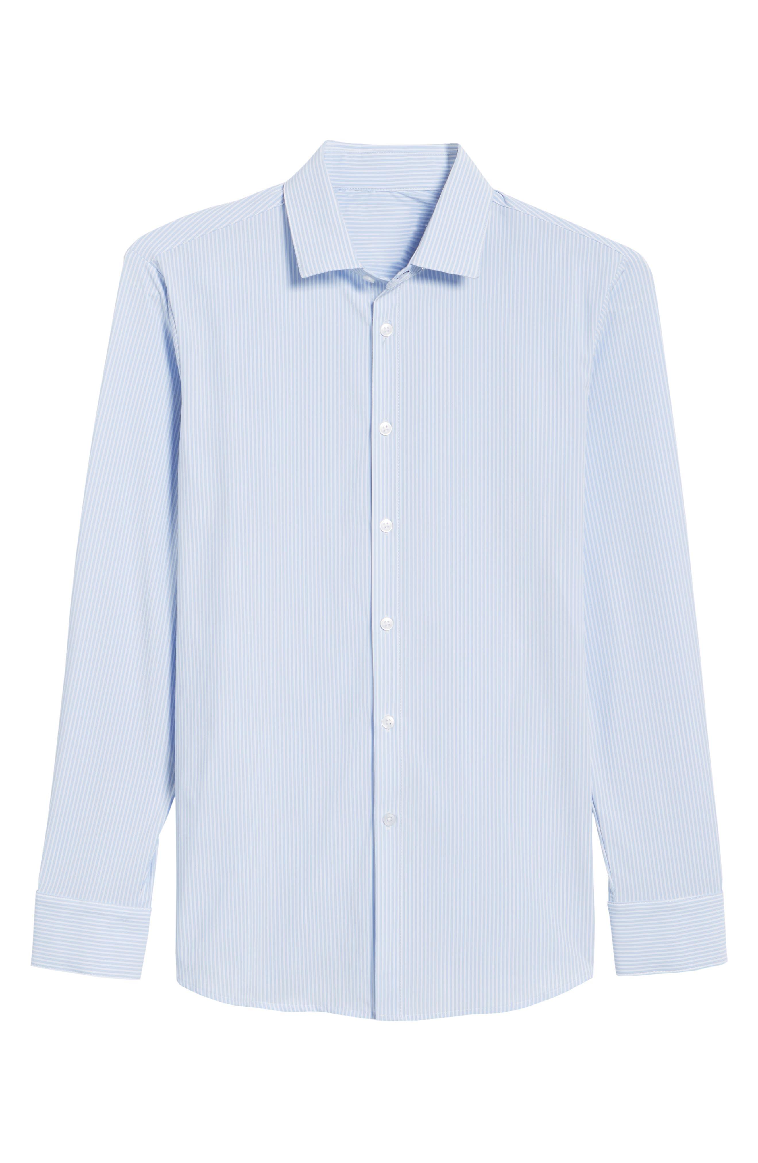 Caldwell Slim Fit Stripe Sport Shirt,                             Alternate thumbnail 6, color,                             Blue