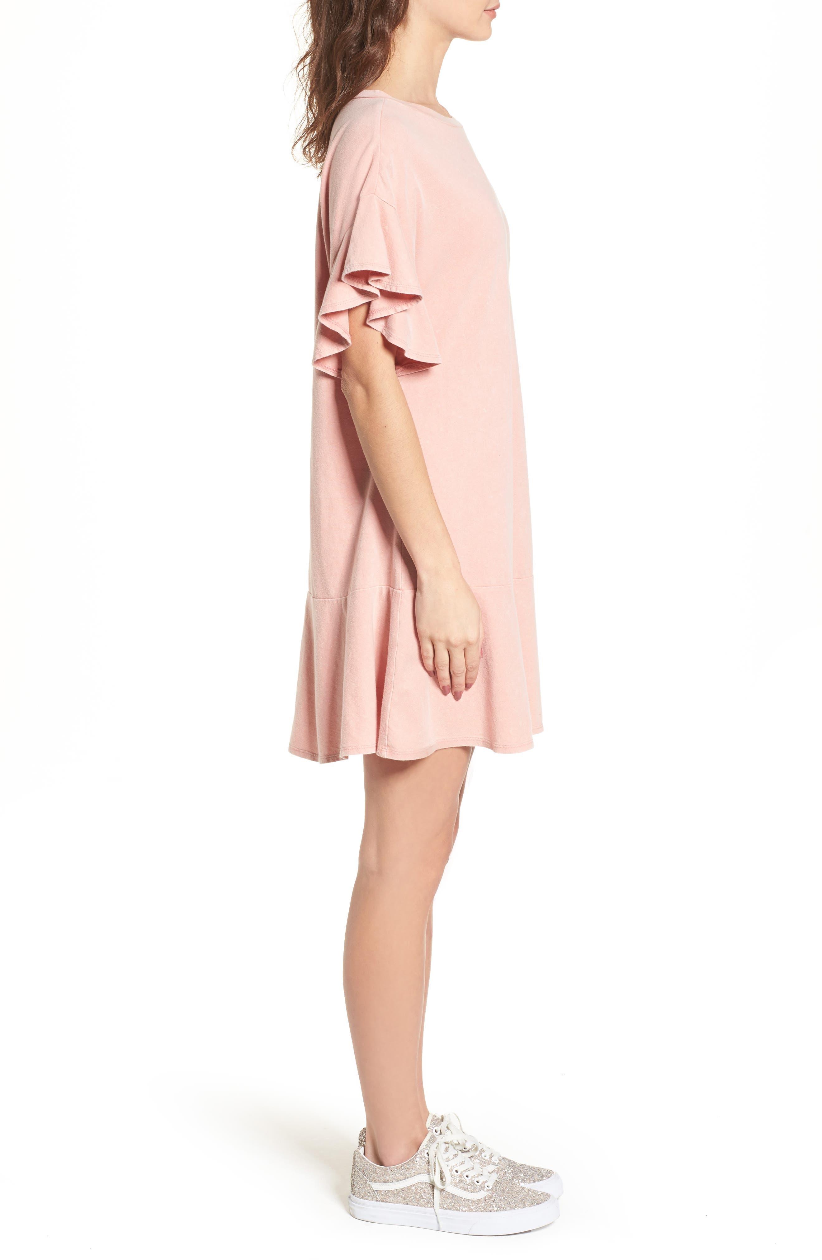 Stonewash Ruffle Trim Dress,                             Alternate thumbnail 3, color,                             Pink Dawn