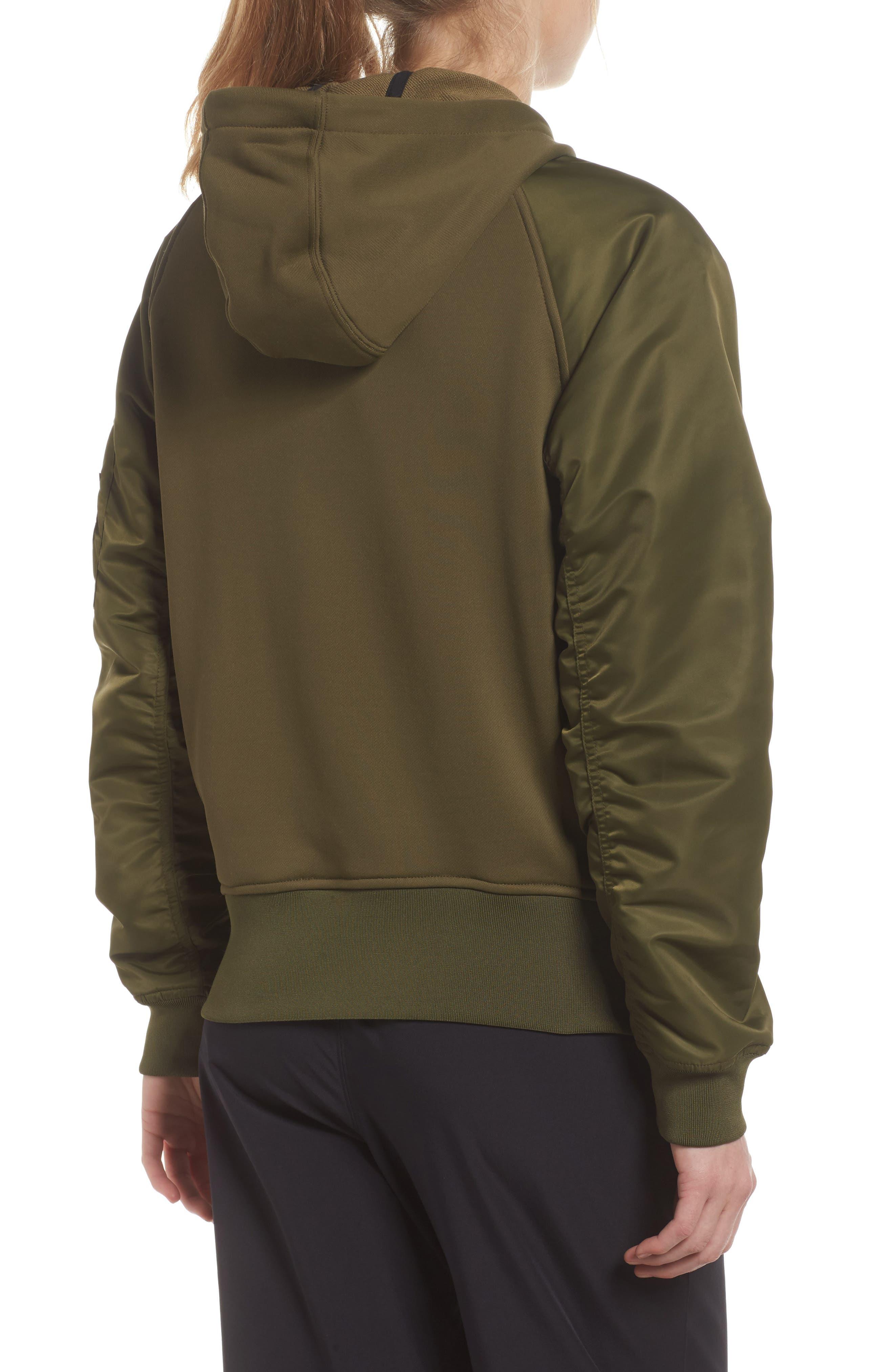 NikeLab Women's Mixed Media Bomber Jacket,                             Alternate thumbnail 2, color,                             Olive Canvas/ Black