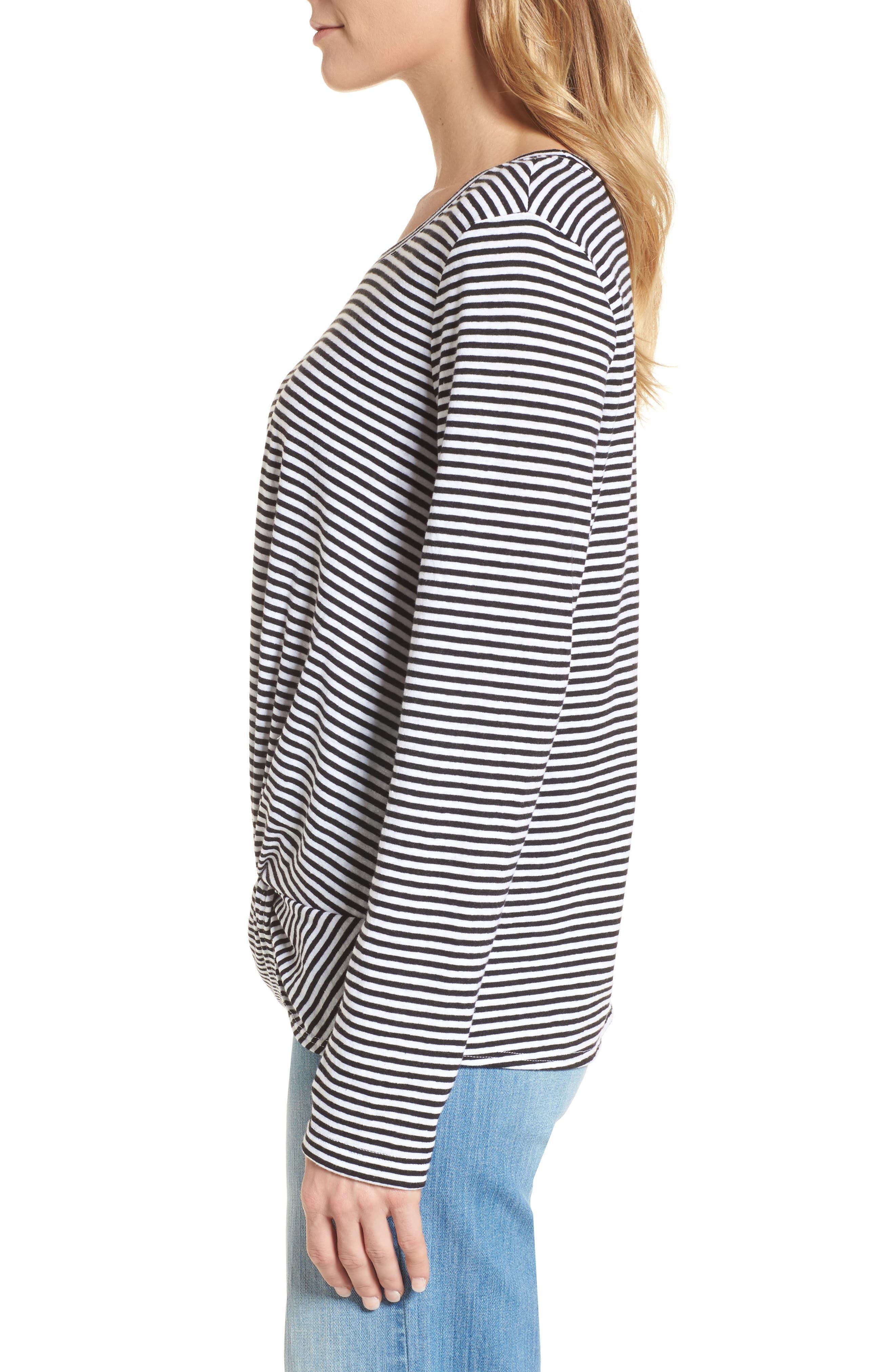 Long Sleeve Front Knot Tee,                             Alternate thumbnail 3, color,                             Black- White Even Stripe