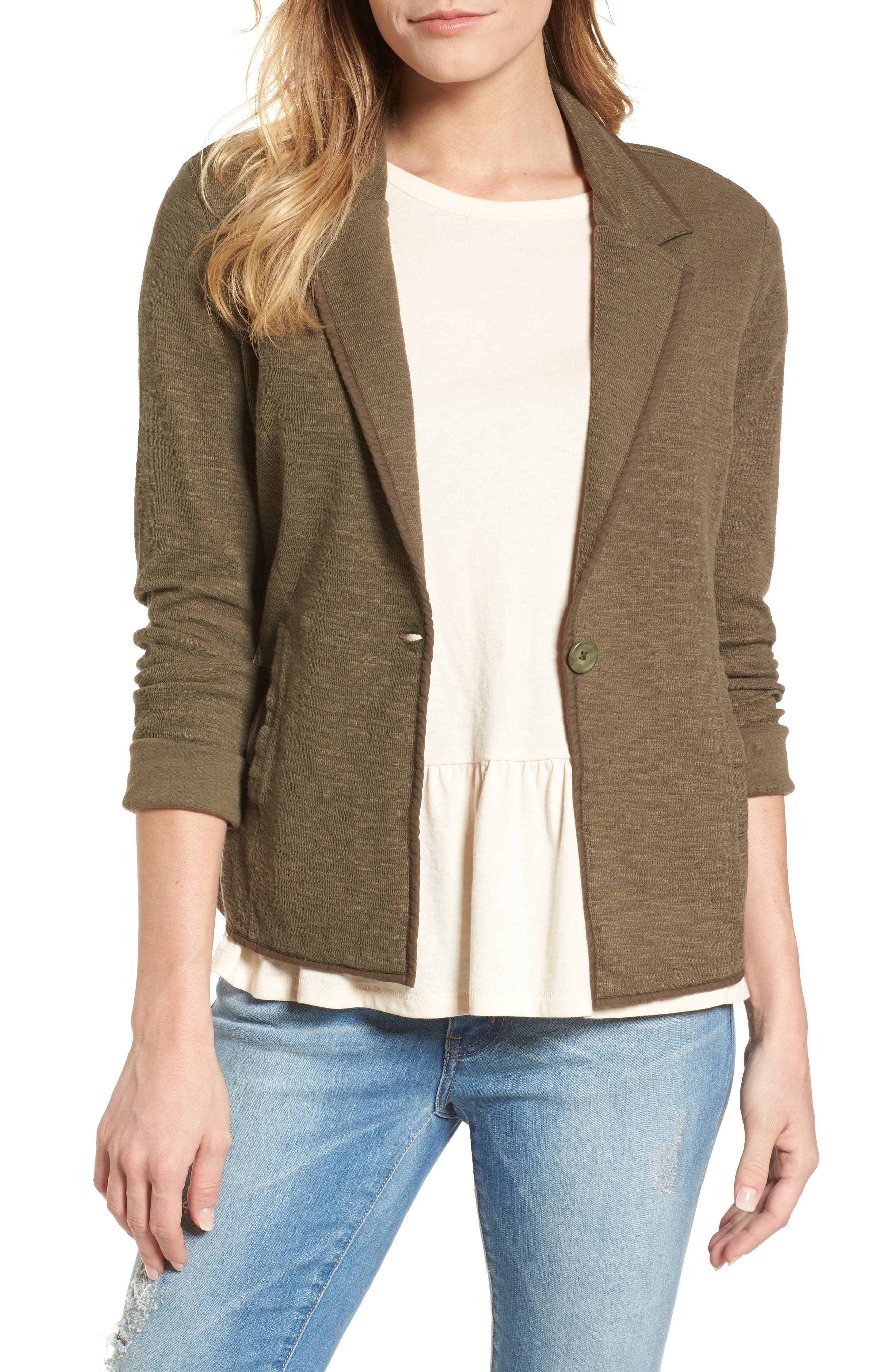 One-Button Knit Blazer,                         Main,                         color, Olive Sarma