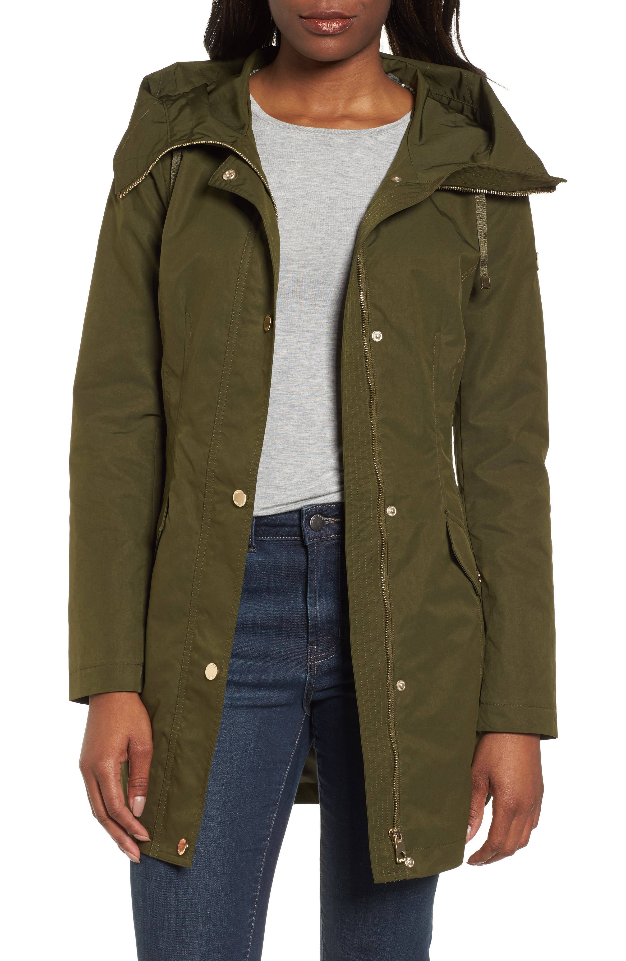 Side Lace-Up Hooded Trench Coat,                             Main thumbnail 1, color,                             Olive