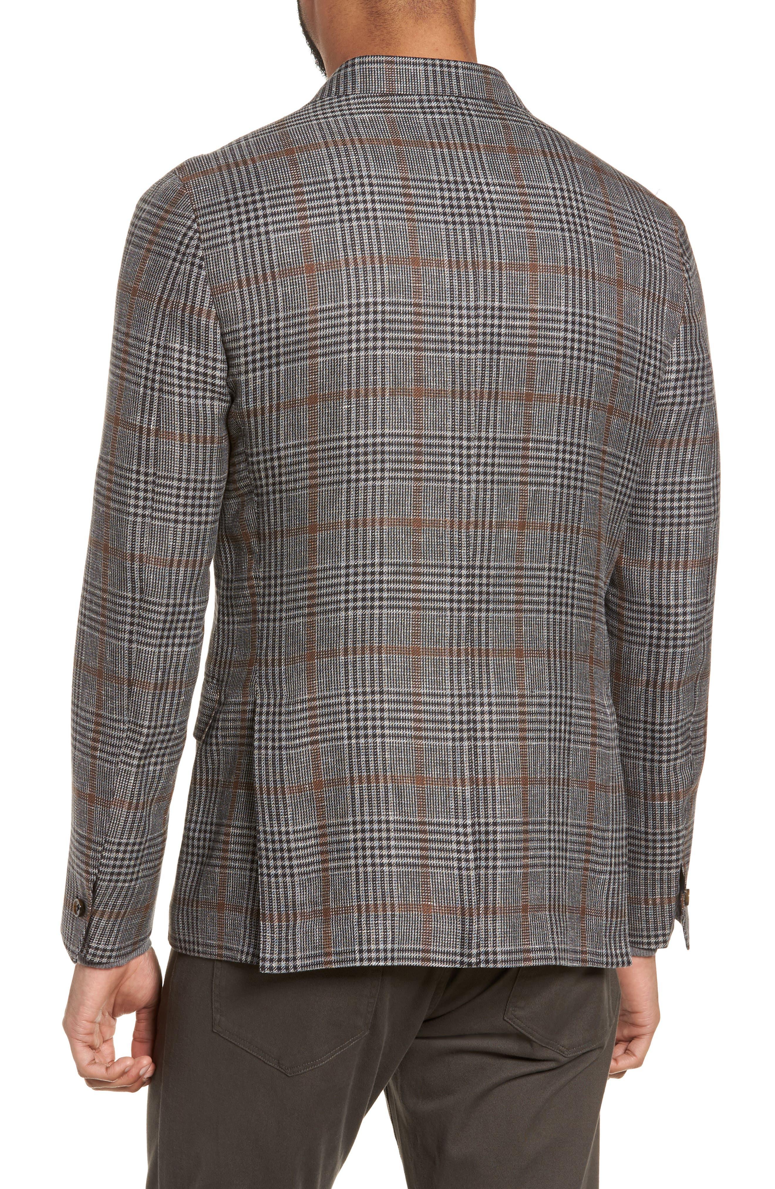 Trim Fit Plaid Linen Blend Sport Coat,                             Alternate thumbnail 2, color,                             Light Grey