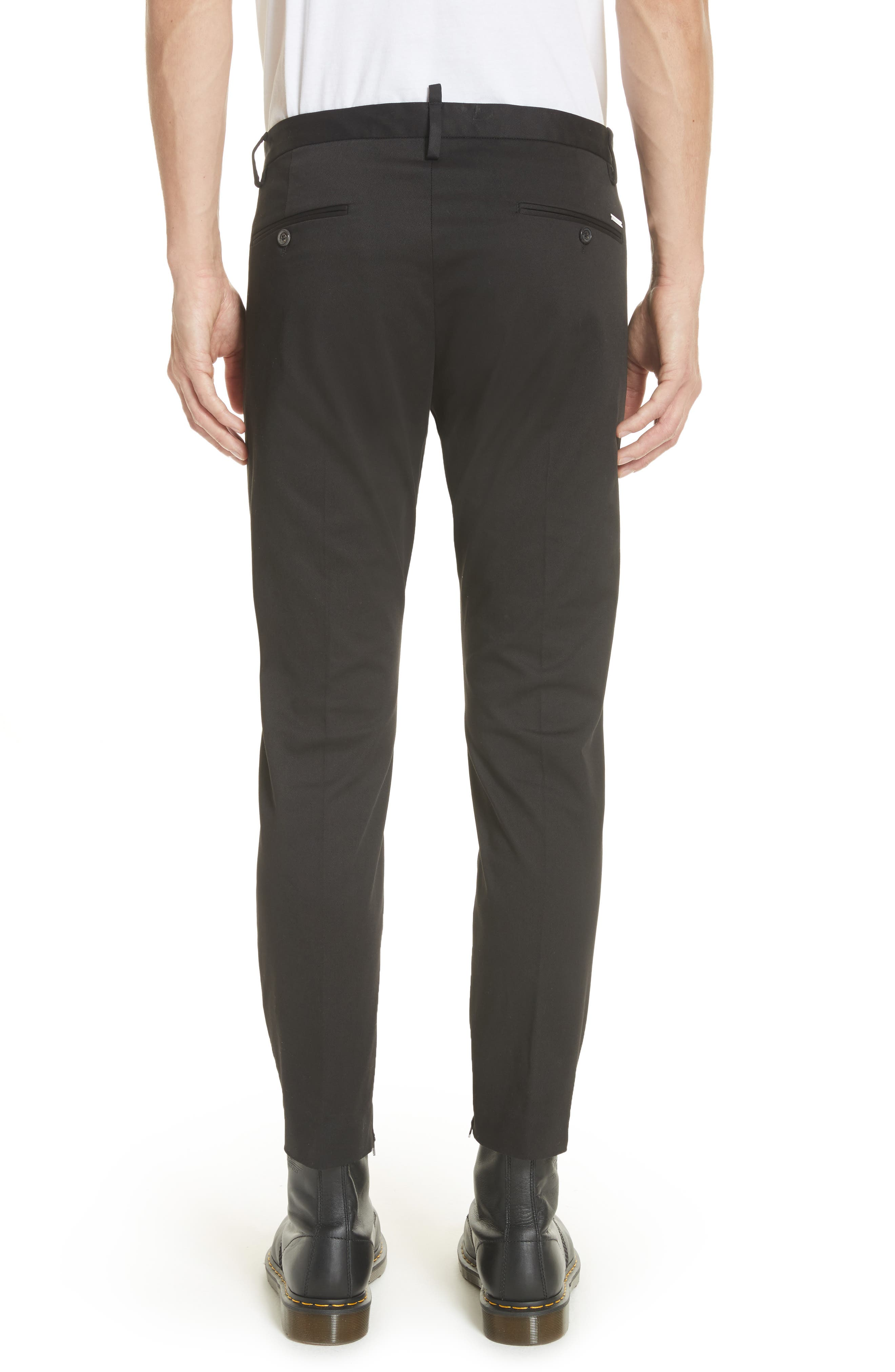 Dan Skinny Fit Cropped Trousers,                             Alternate thumbnail 2, color,                             Black