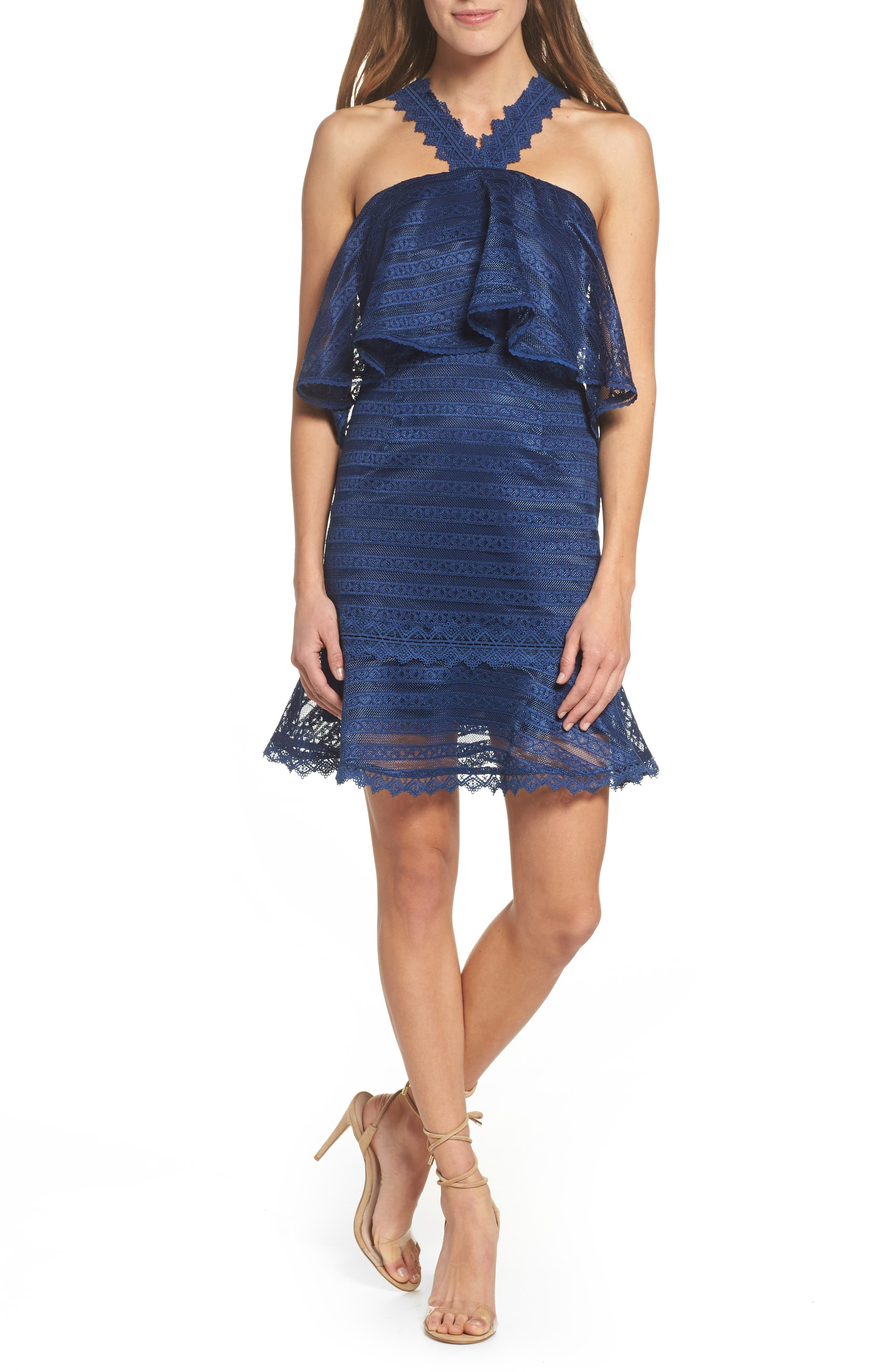 Lucy Ruffle Halter Dress,                             Main thumbnail 1, color,                             Navy