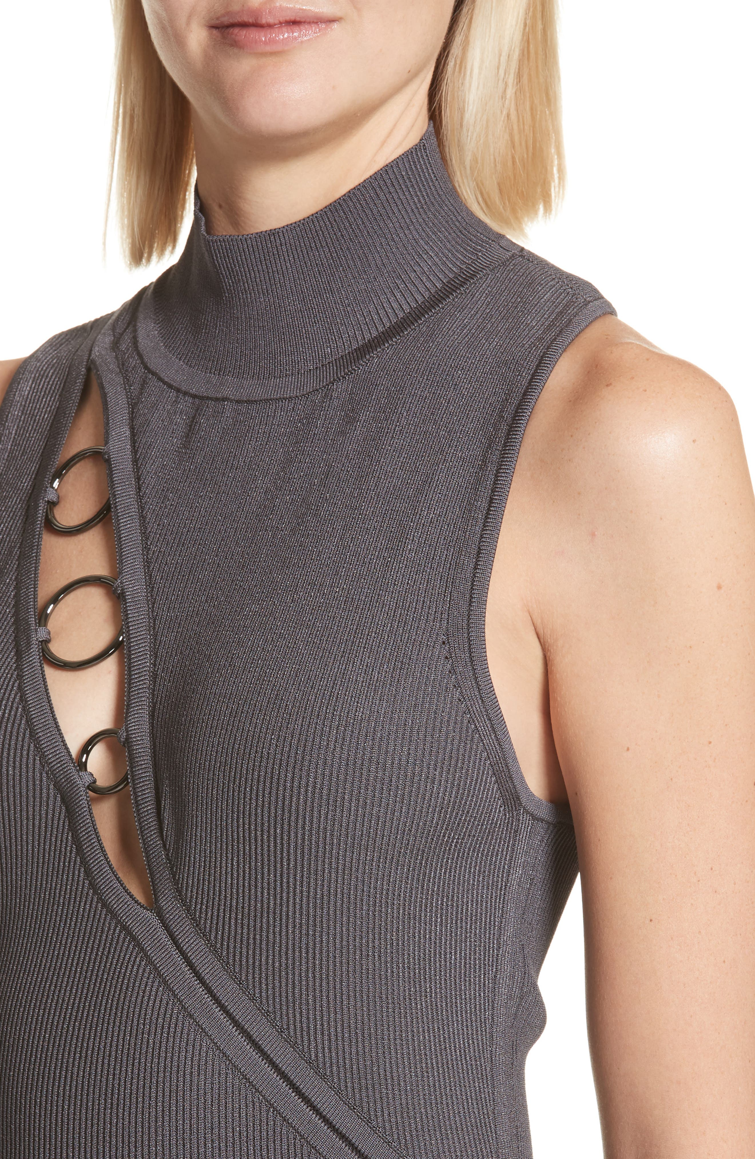 Alsia Cutout Knit Dress,                             Alternate thumbnail 4, color,                             Graphite/ Gunmetal