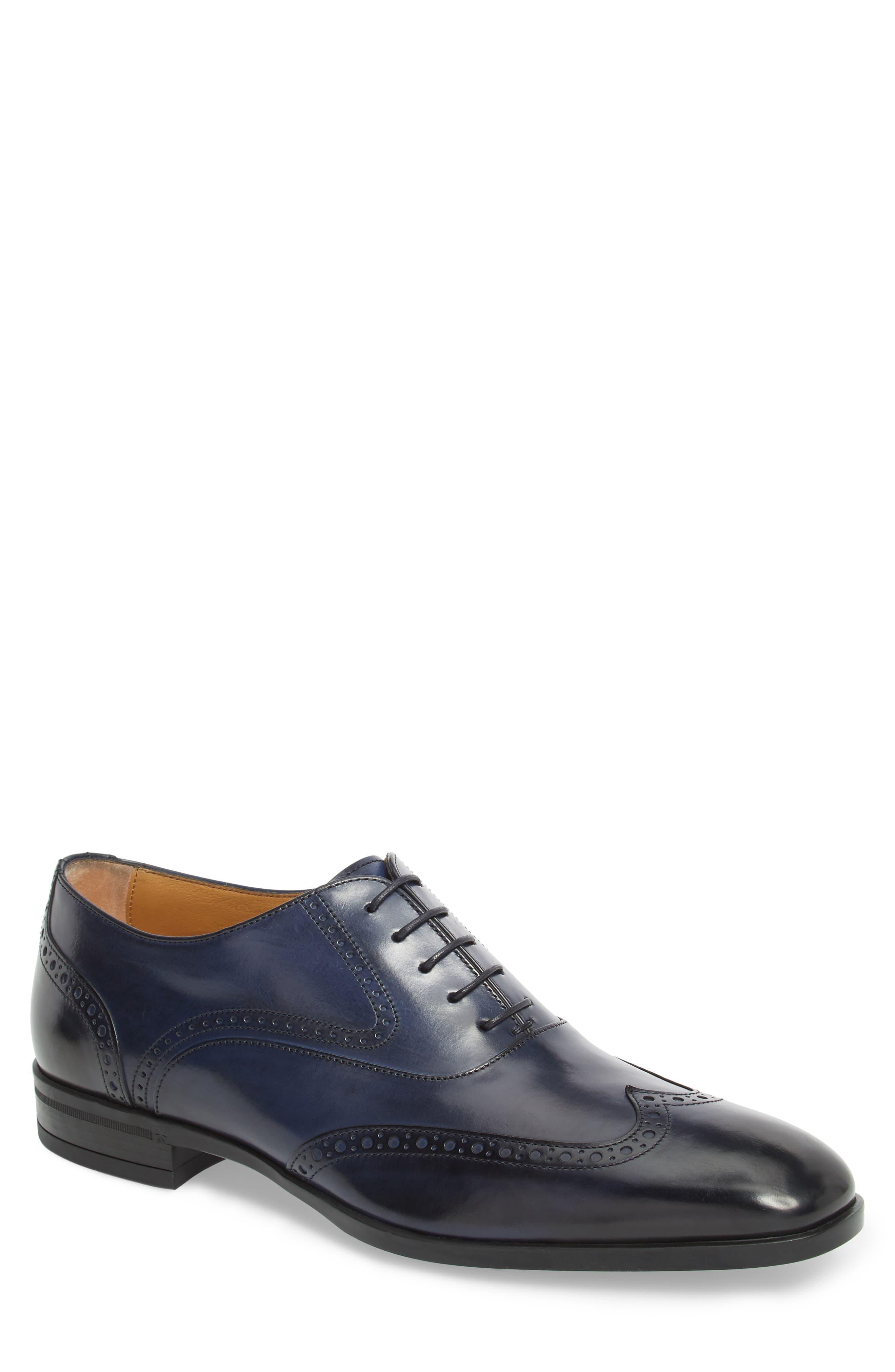Portland Wingtip,                             Main thumbnail 1, color,                             Dark Blue Leather