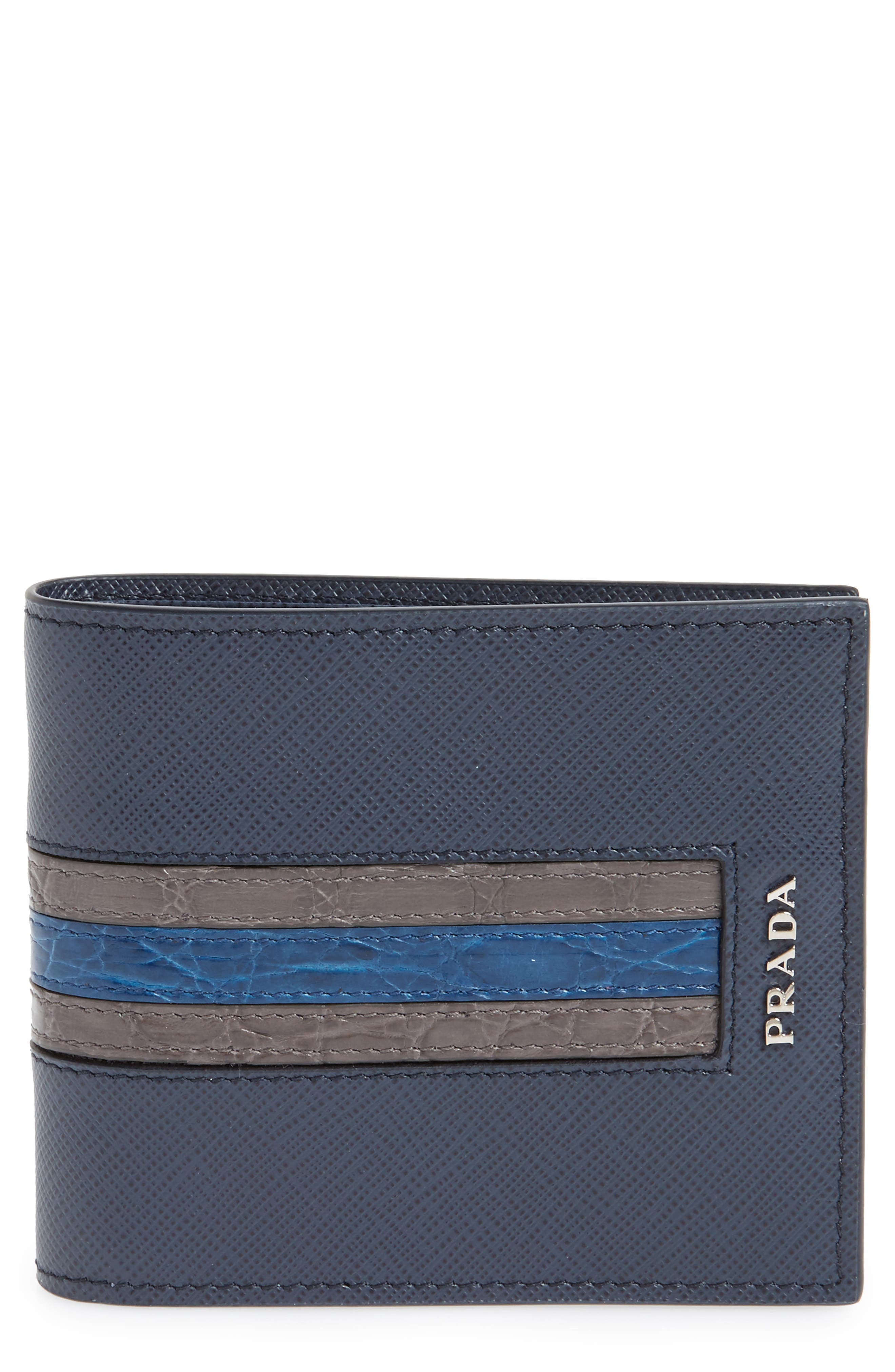 Saffiano and Crocodile Leather Wallet,                             Main thumbnail 1, color,                             F0216 Baltico