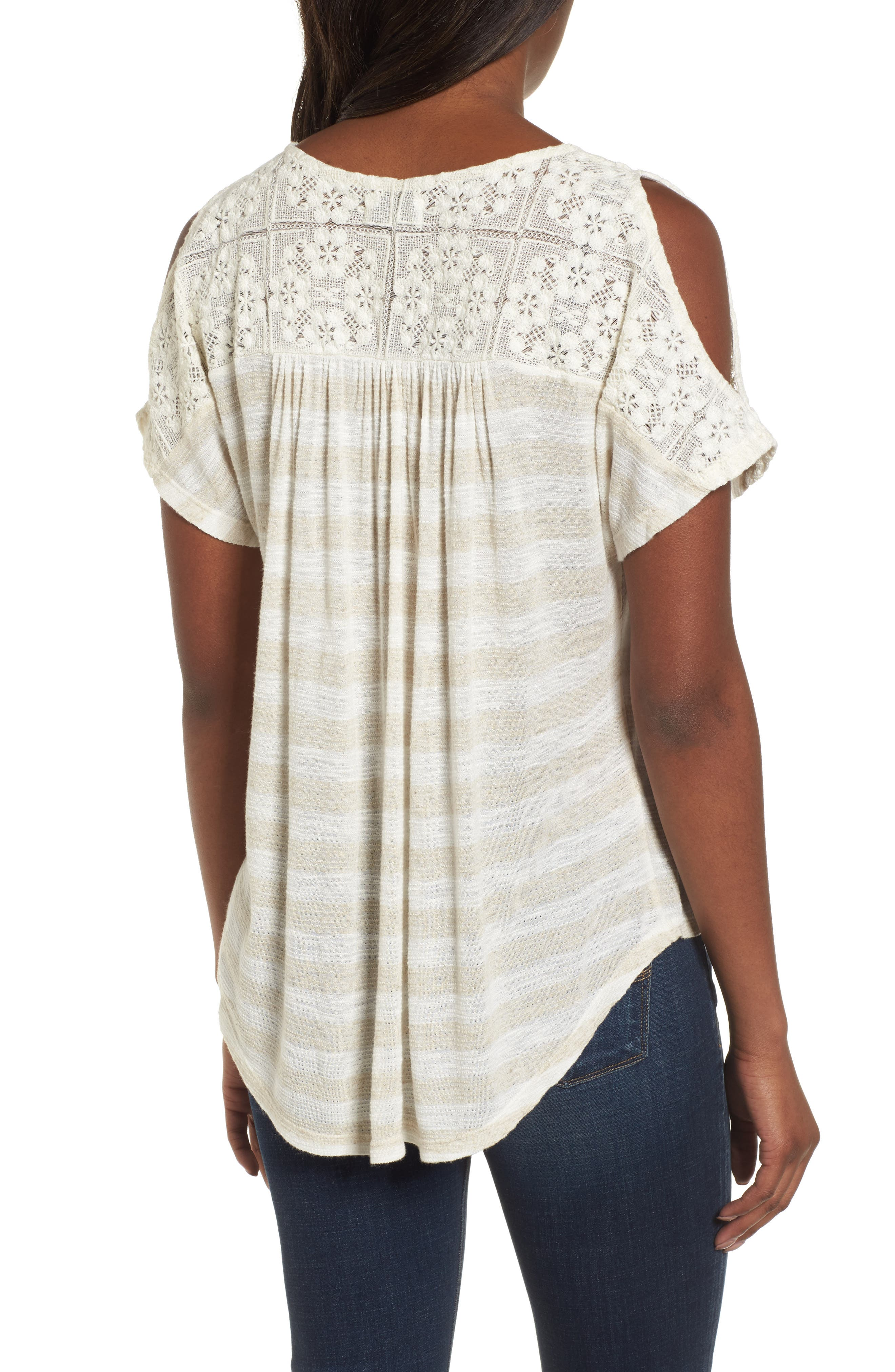 Lace Cold Shoulder Shirt,                             Alternate thumbnail 2, color,                             Oatmeal Stripe