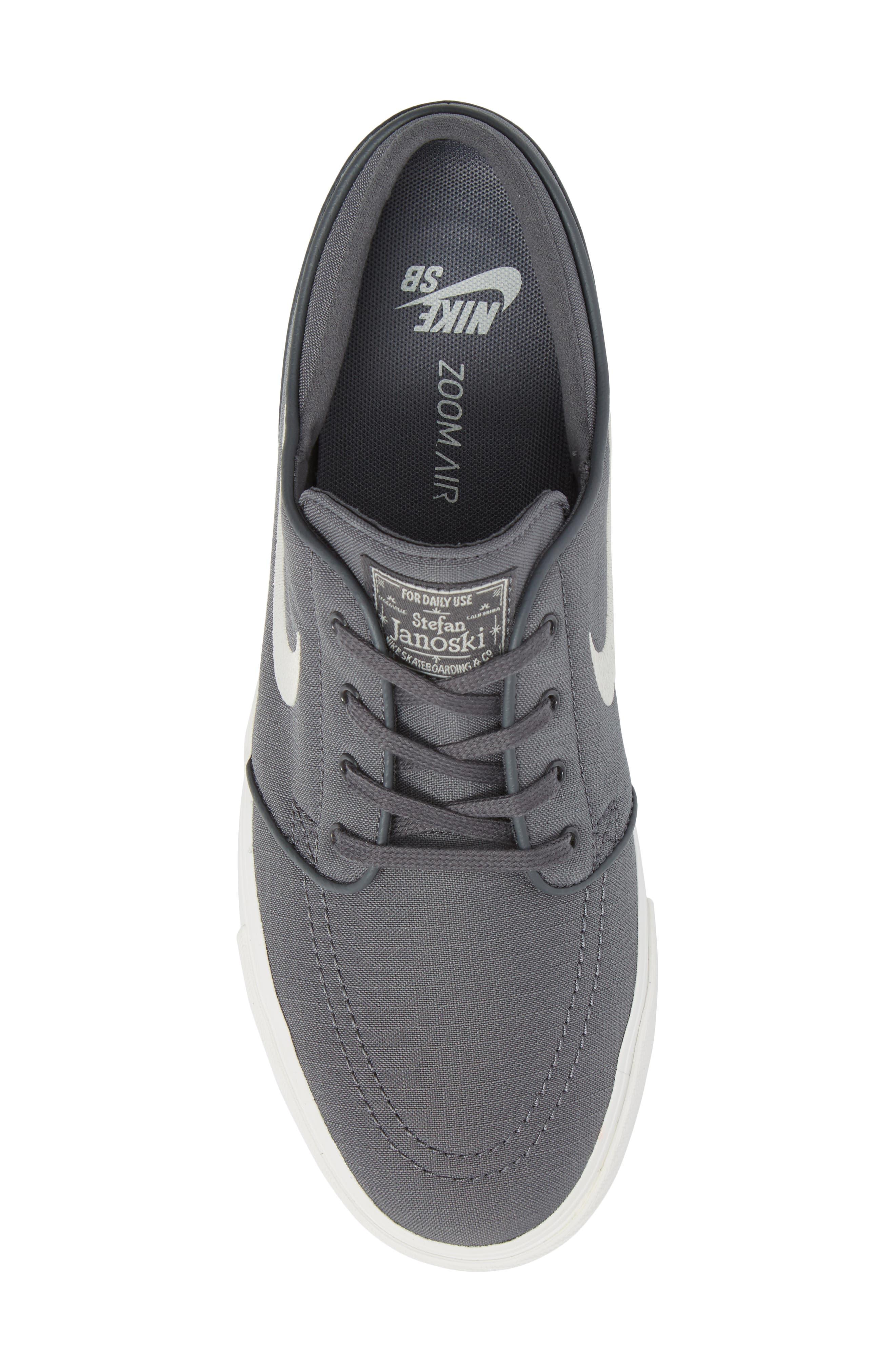 'Zoom - Stefan Janoski SB' Canvas Skate Shoe,                             Alternate thumbnail 5, color,                             Dark Grey/ Bone/ White/ Black