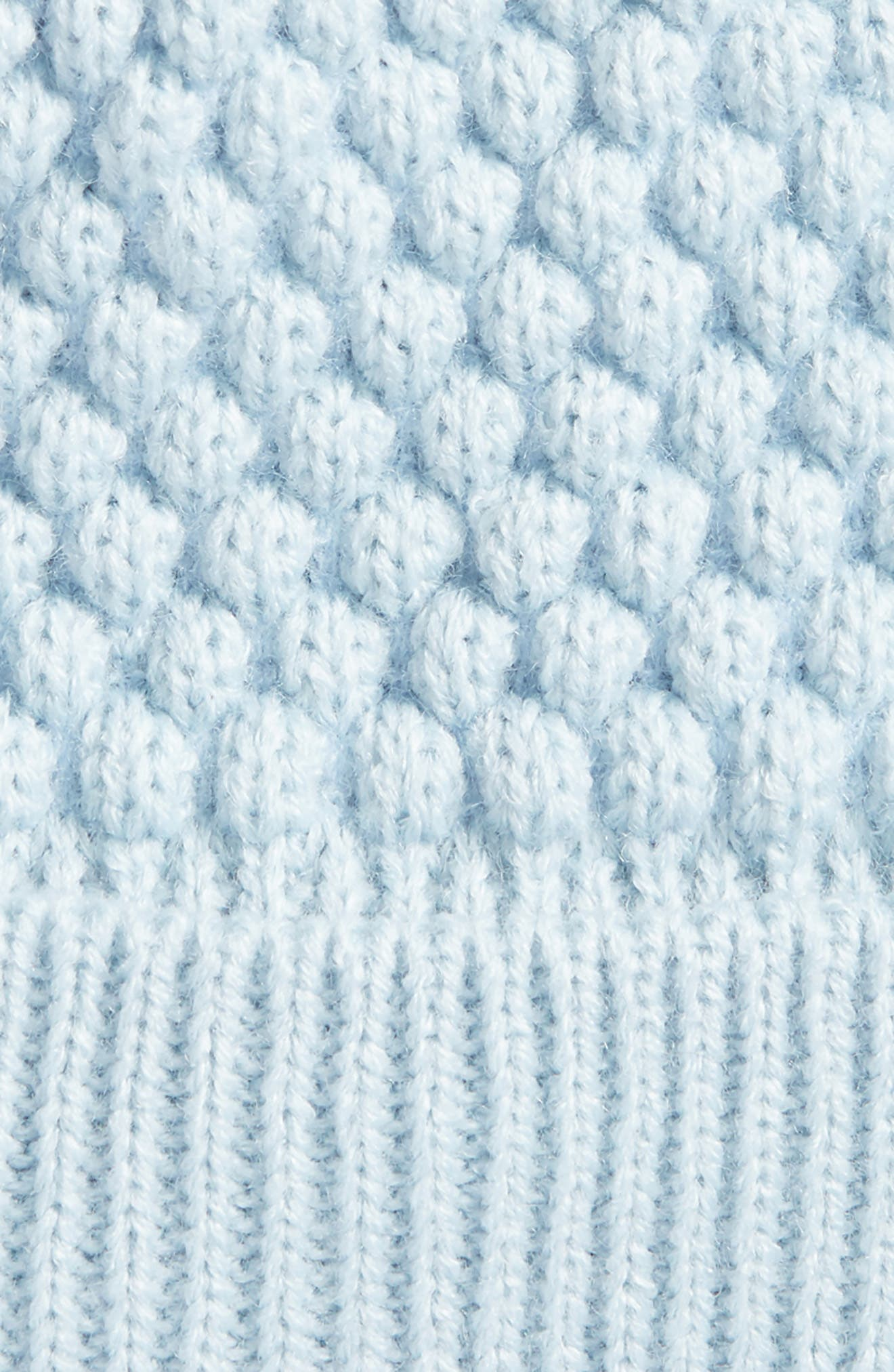 Popcorn Knit Pom Beanie,                             Alternate thumbnail 2, color,                             Ice Blue