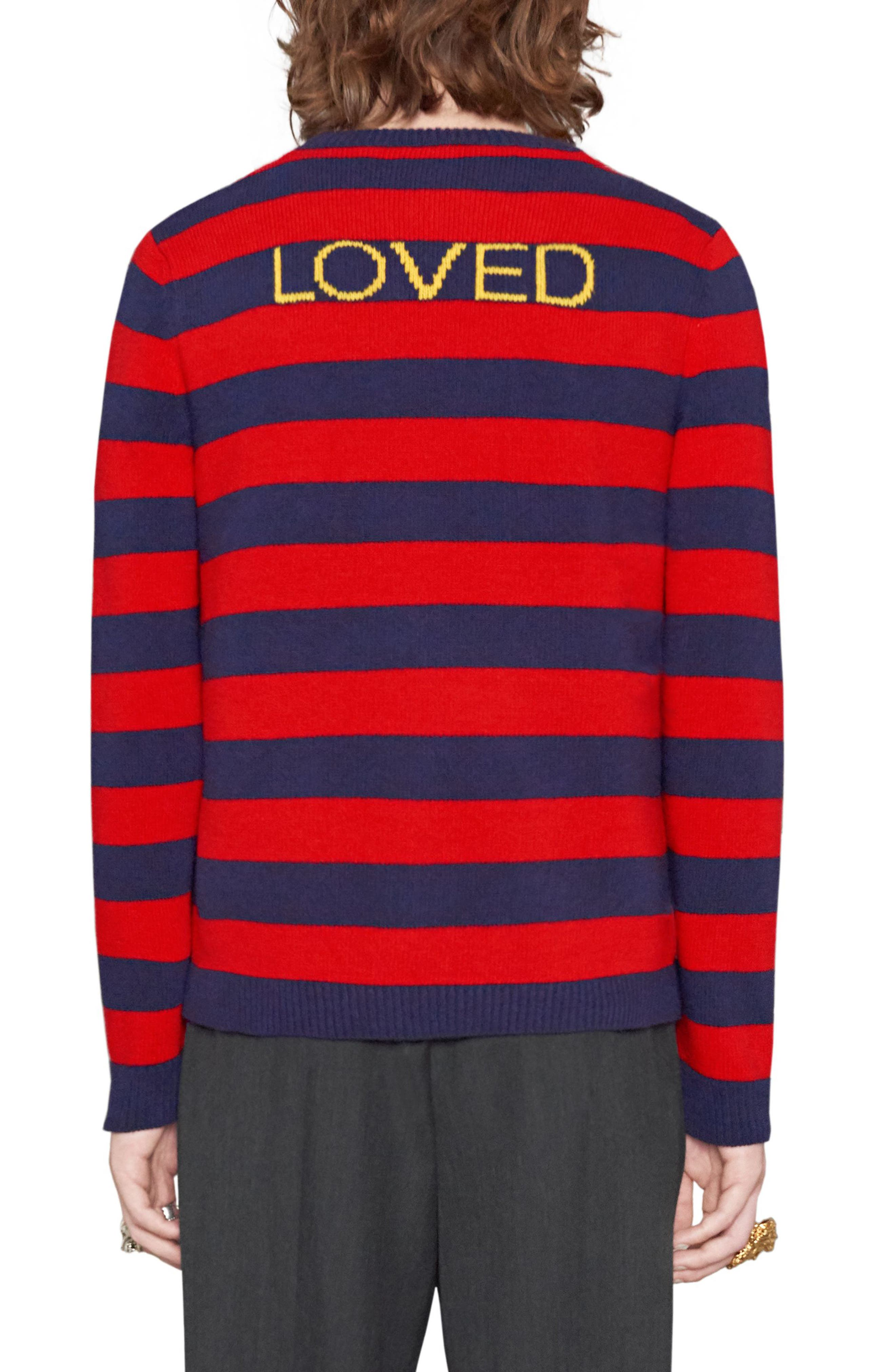Stripe Bee Wool Crewneck Sweater,                             Alternate thumbnail 2, color,                             Red