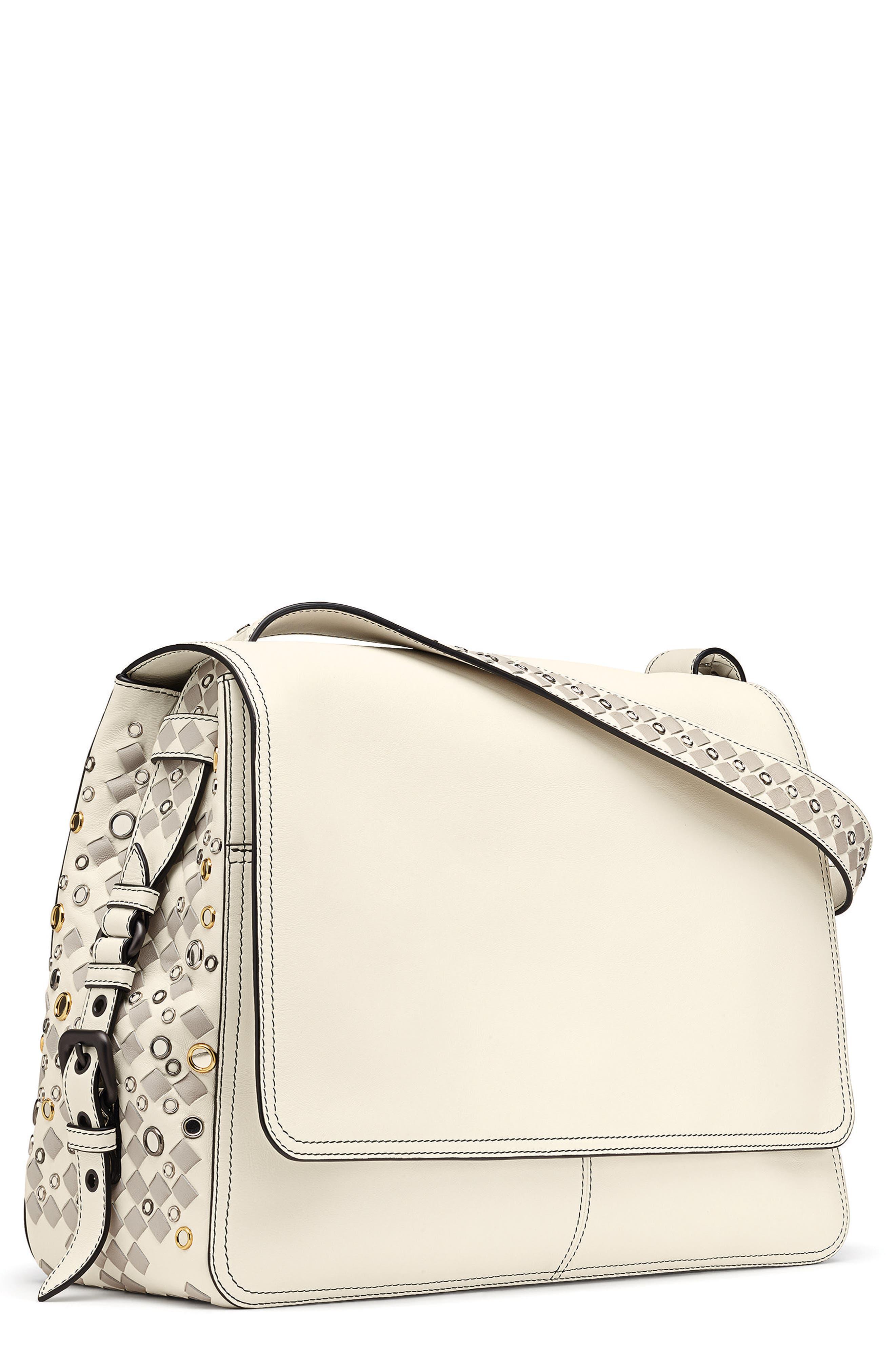 Intrecciato Leather Shoulder Bag,                         Main,                         color, Latte