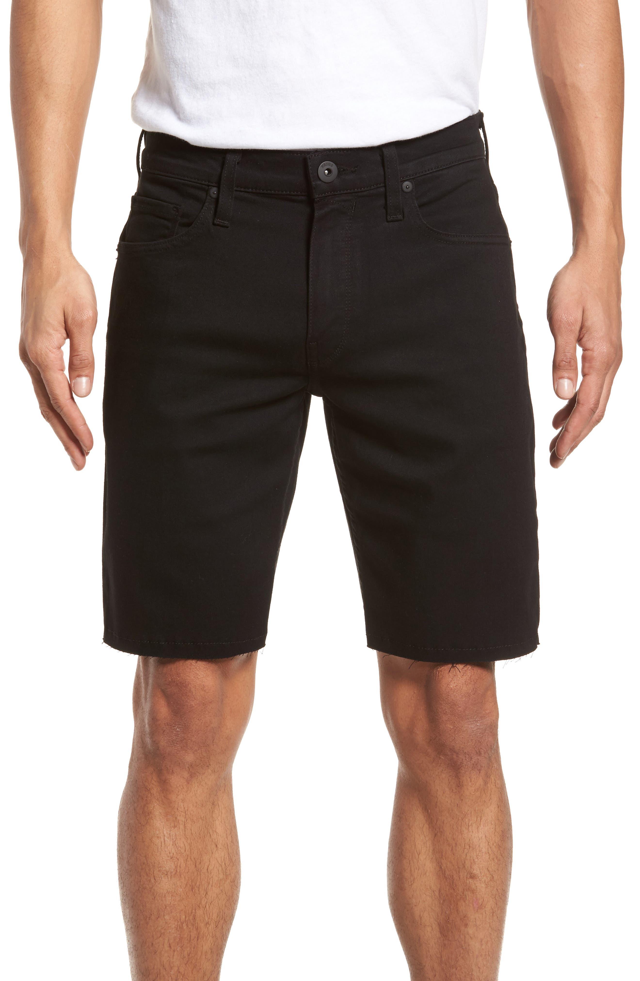 Transcend - Federal Slim Straight Leg Denim Shorts,                         Main,                         color, Black Shadow