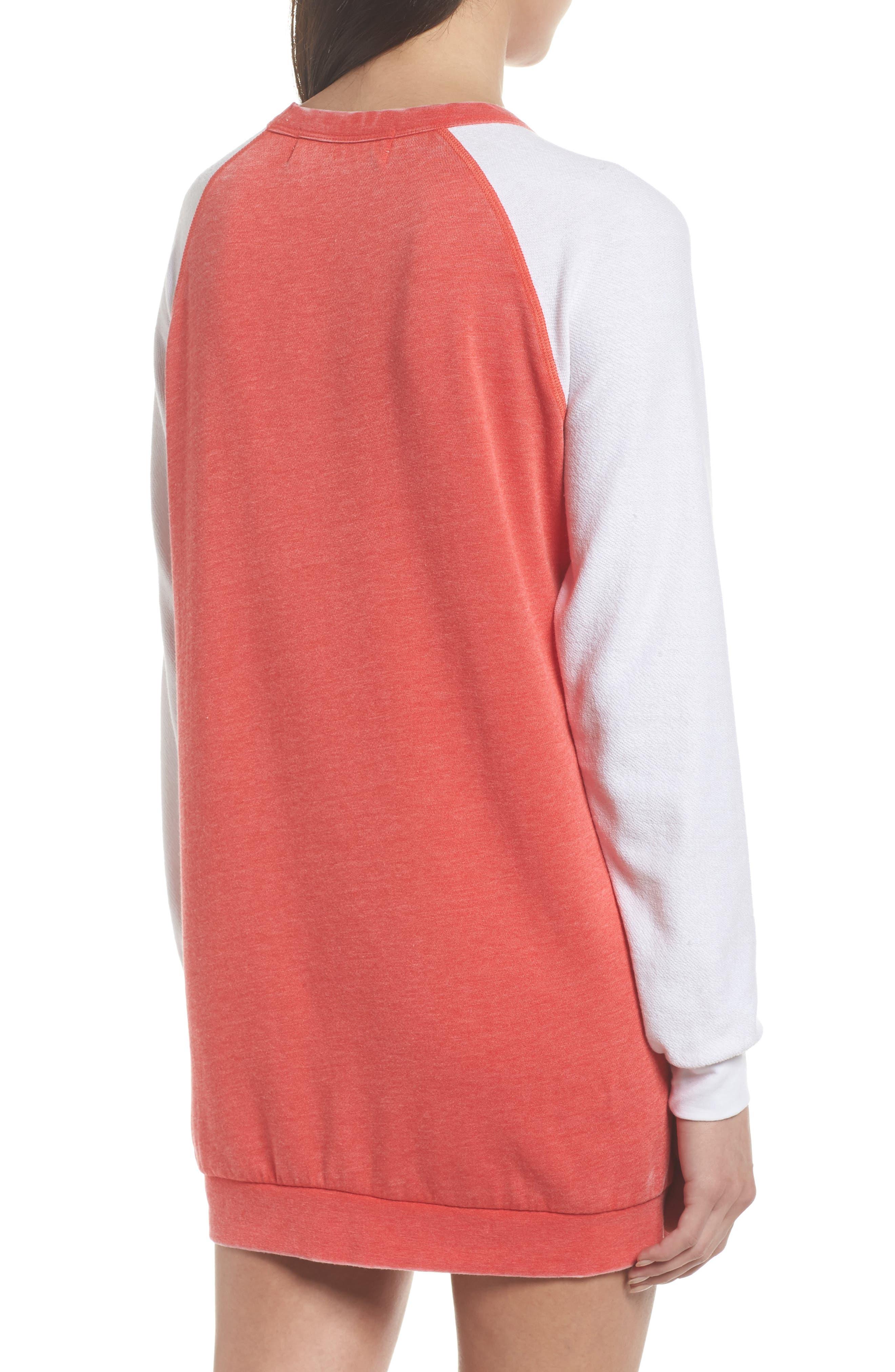 Lounge Sweatshirt Dress,                             Alternate thumbnail 2, color,                             Love Red/ White