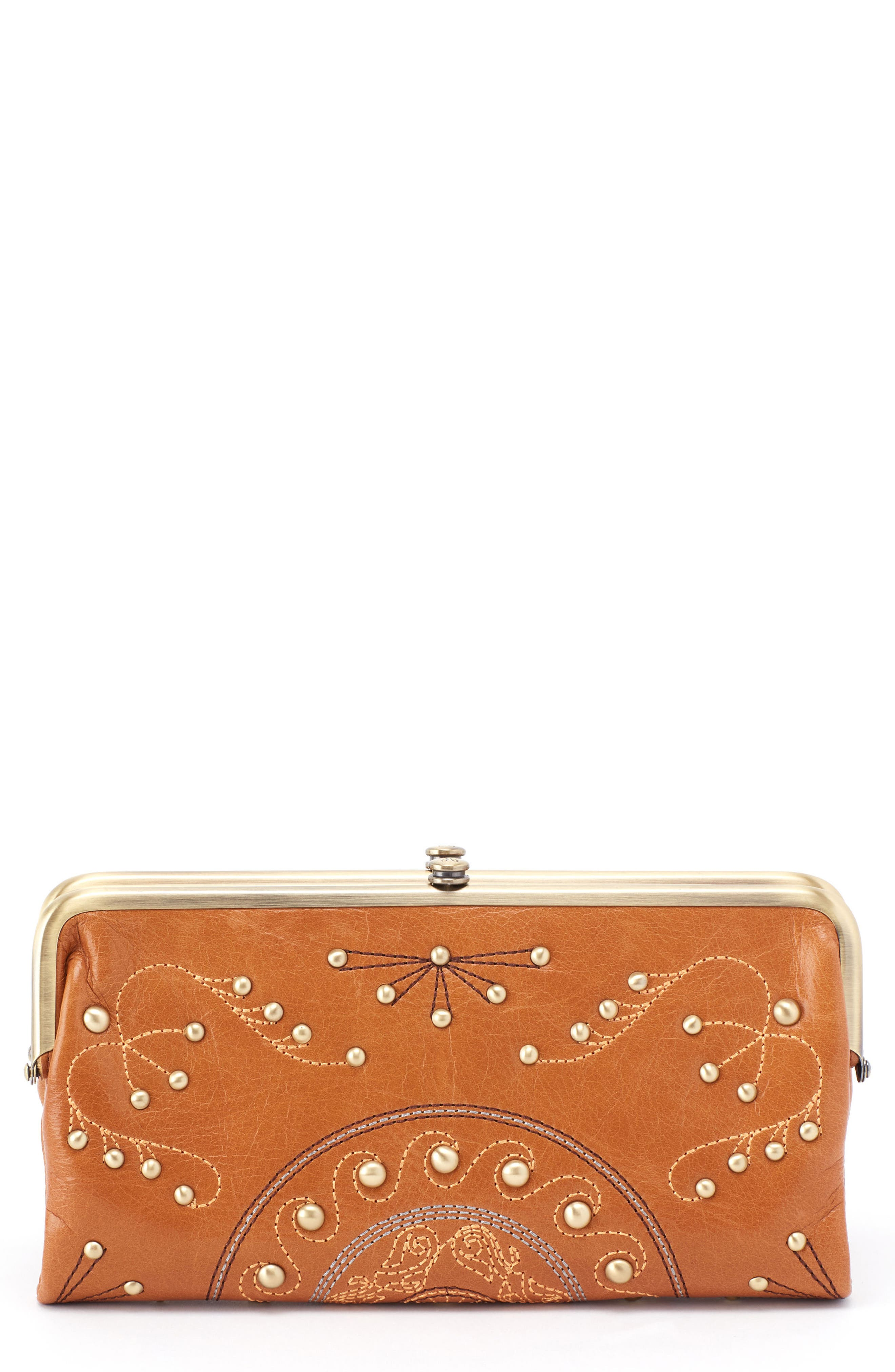 Lauren Studded Leather Wallet,                         Main,                         color, Earth
